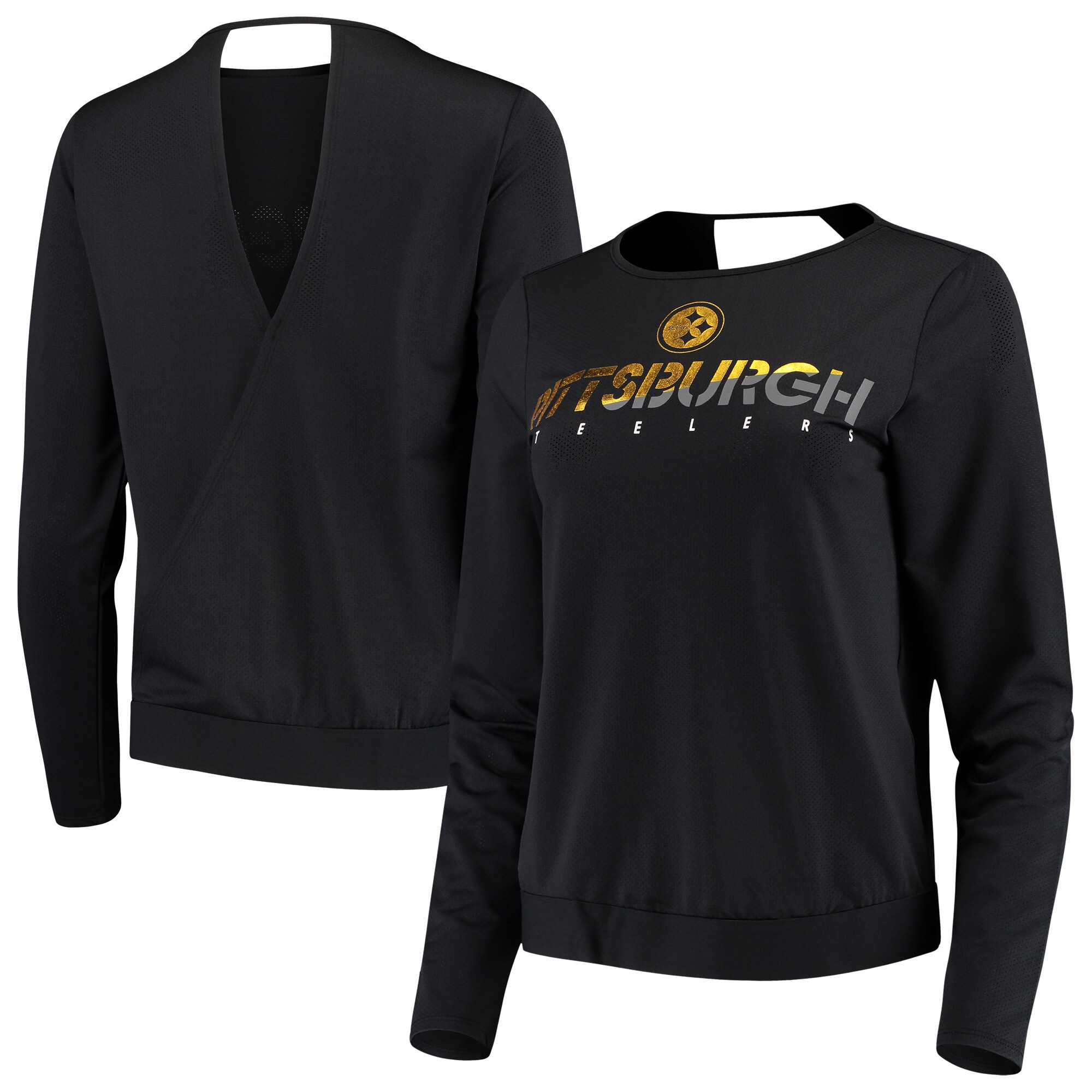 Pittsburgh Steelers Touch by Alyssa Milano Women's Breeze Back Long Sleeve T-Shirt - Black
