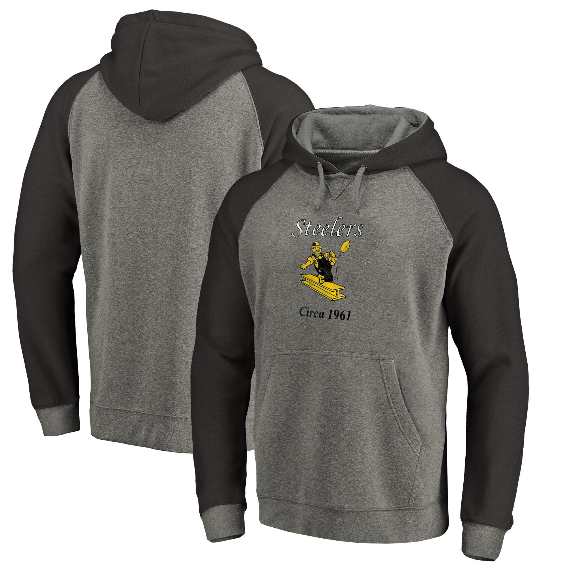 Pittsburgh Steelers NFL Pro Line by Fanatics Branded Throwback Logo Tri-Blend Raglan Pullover Hoodie - Gray/Black