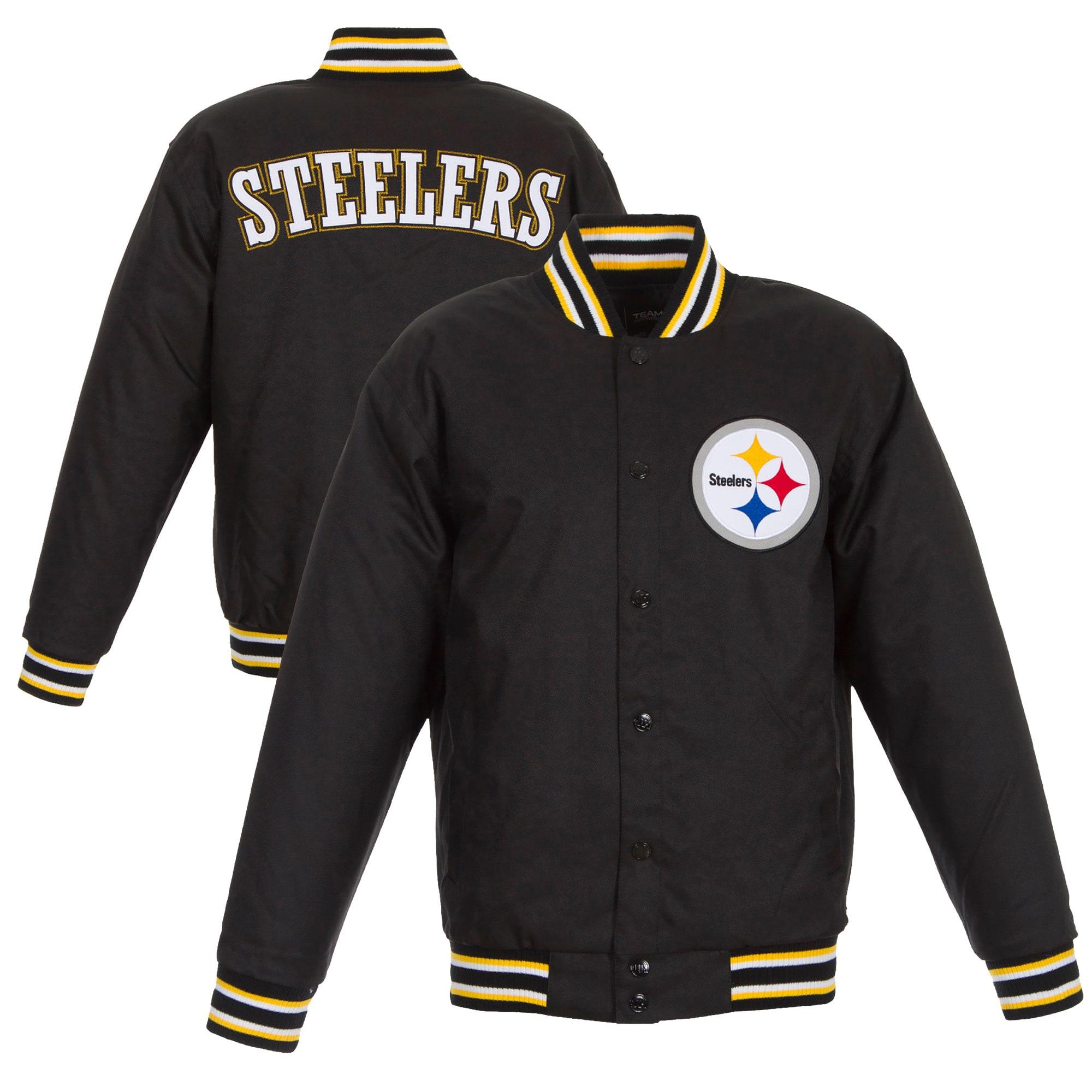 Pittsburgh Steelers JH Design Poly Twill Varsity Jacket - Black