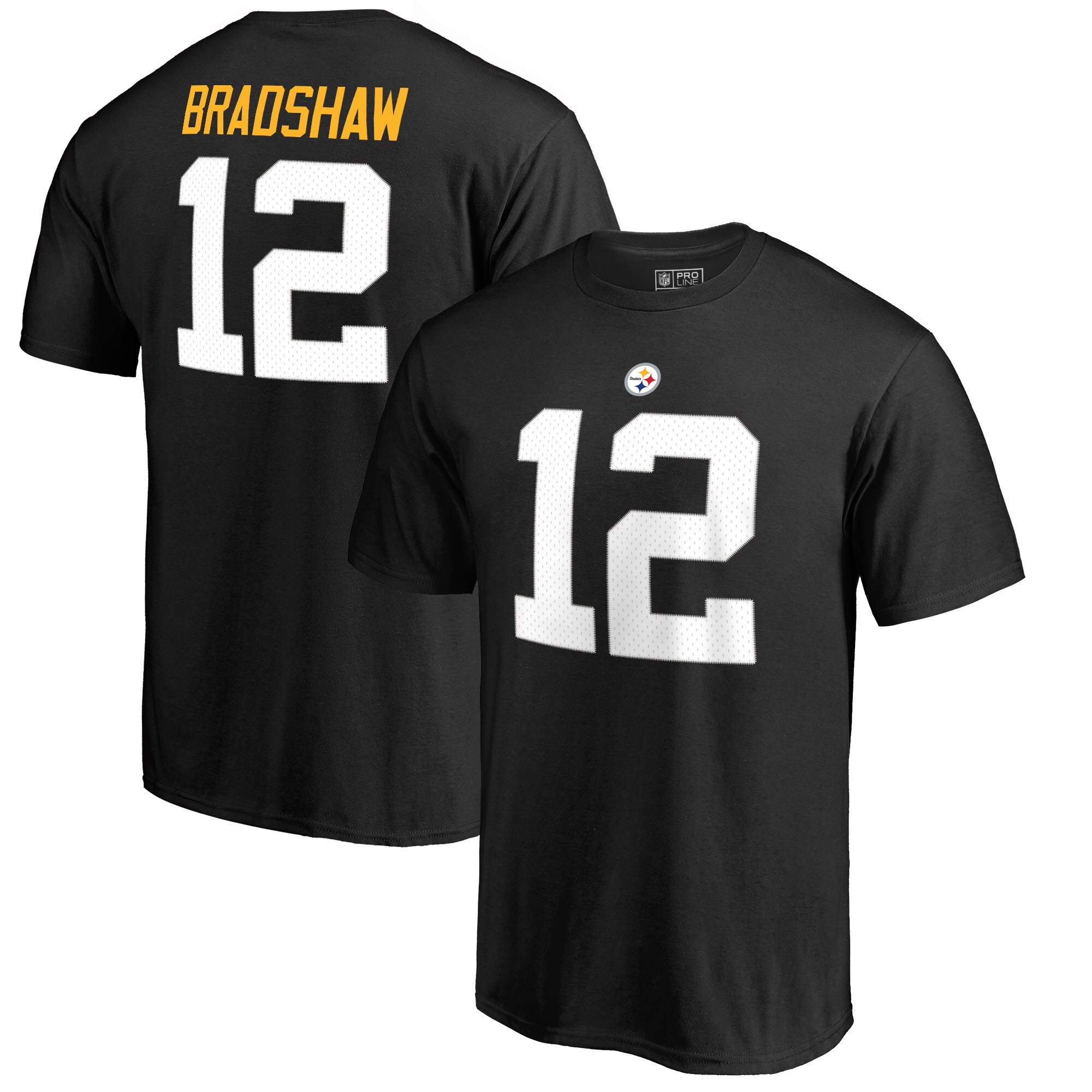 Terry Bradshaw Pittsburgh Steelers NFL Pro Line by Fanatics Branded Retired Player Authentic Stack Name & Number T-Shirt - Black