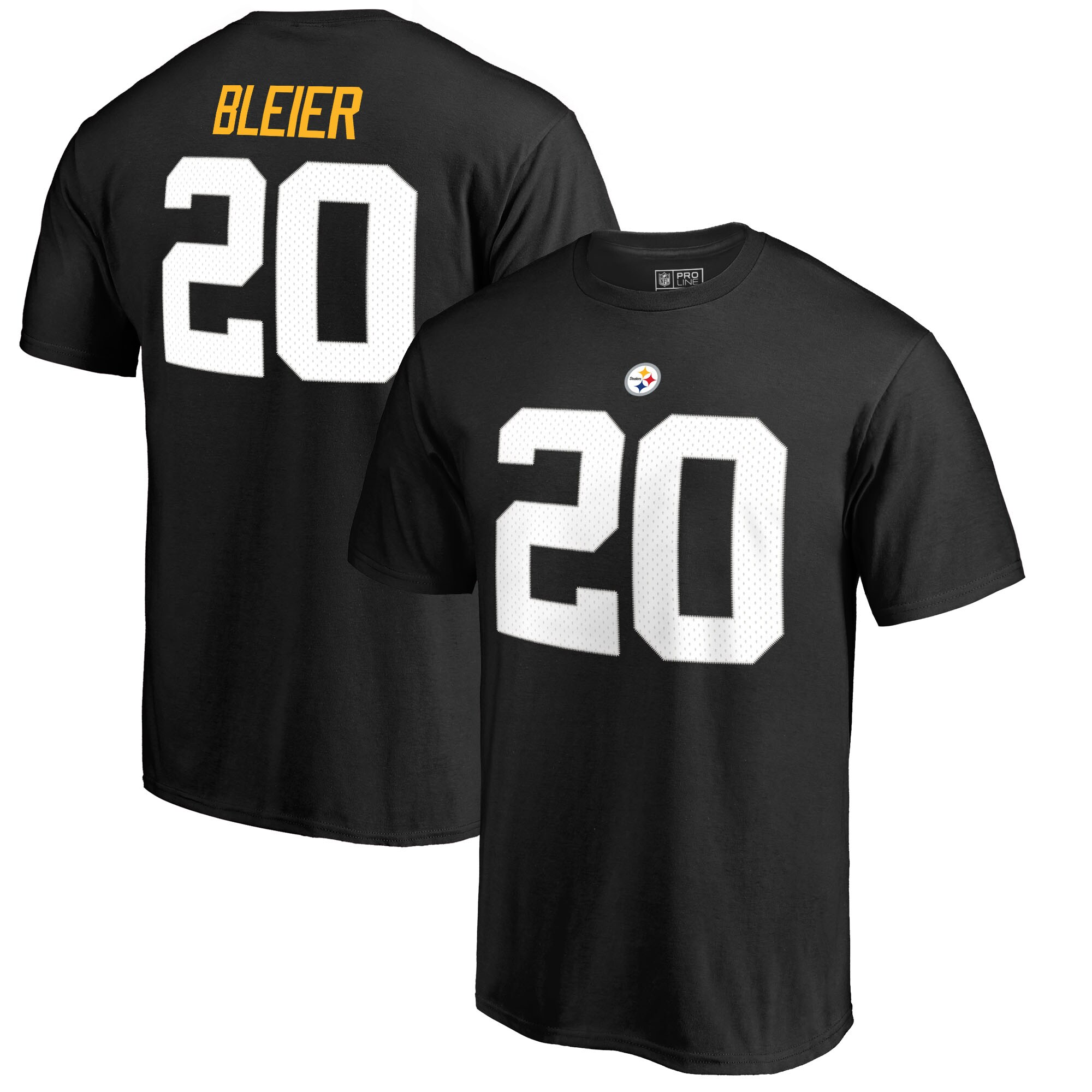 Rocky Bleier Pittsburgh Steelers NFL Pro Line by Fanatics Branded Retired Player Authentic Stack Name & Number T-Shirt - Black