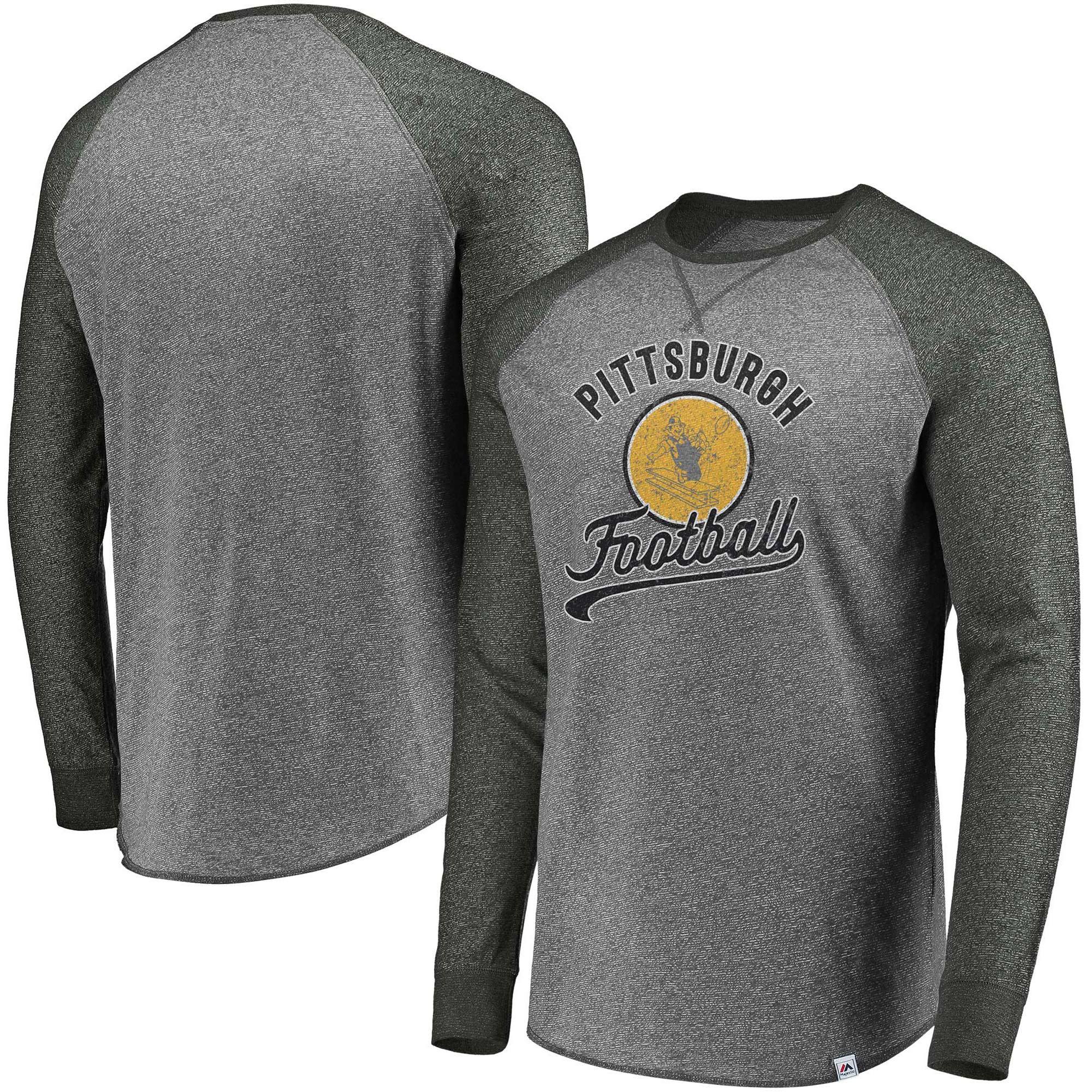 Pittsburgh Steelers Majestic Historic Static Marled Raglan Long Sleeve T-Shirt - Charcoal