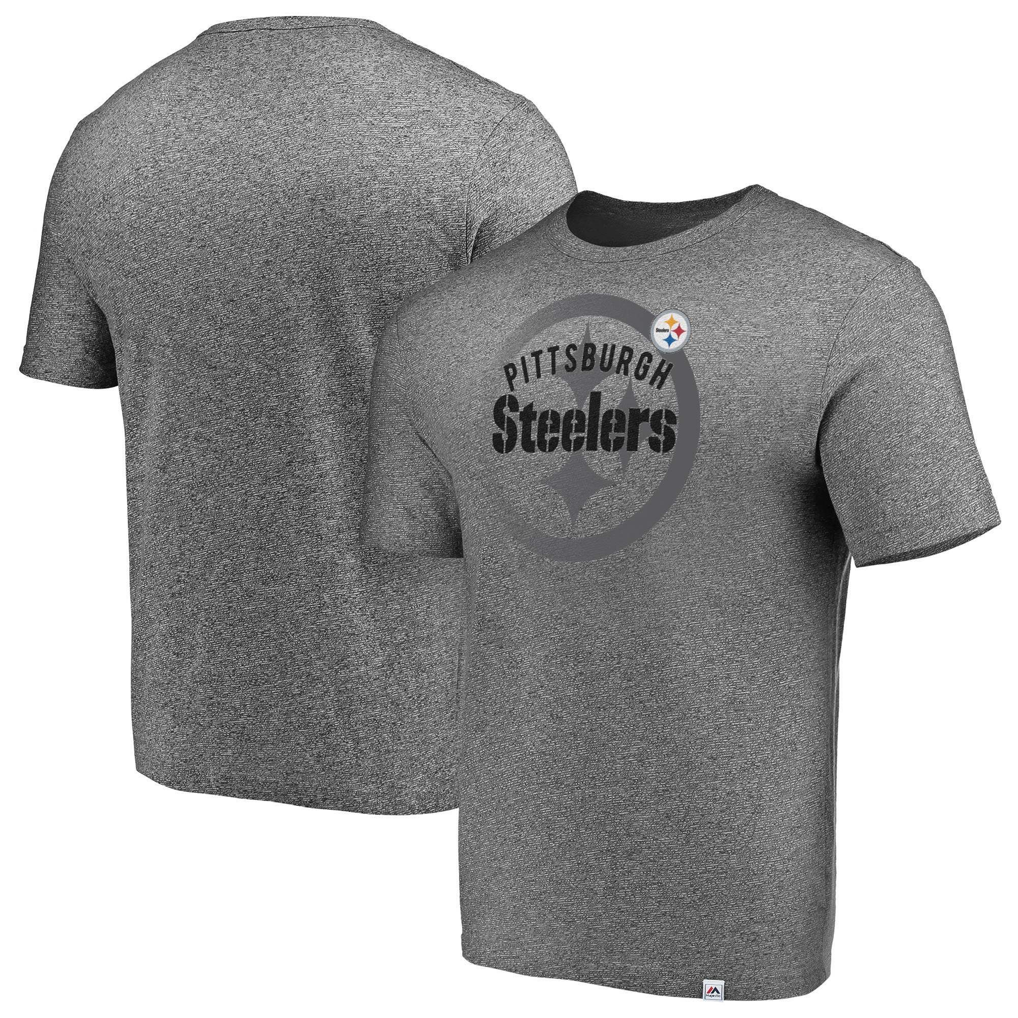 Pittsburgh Steelers Majestic Static Fade Marled T-Shirt - Heathered Gray
