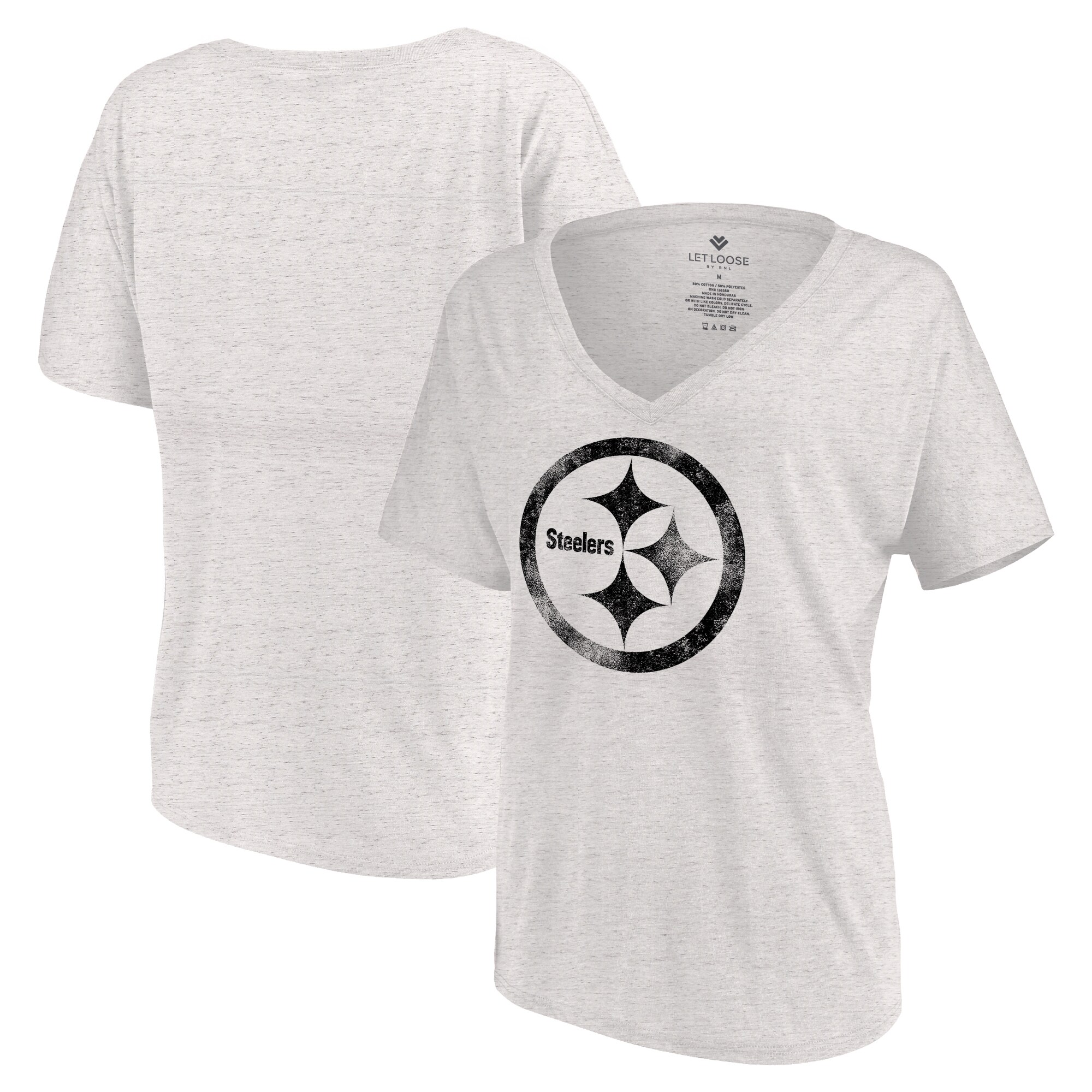 Pittsburgh Steelers Let Loose by RNL Women's Distressed Primary V-Neck T-Shirt - White