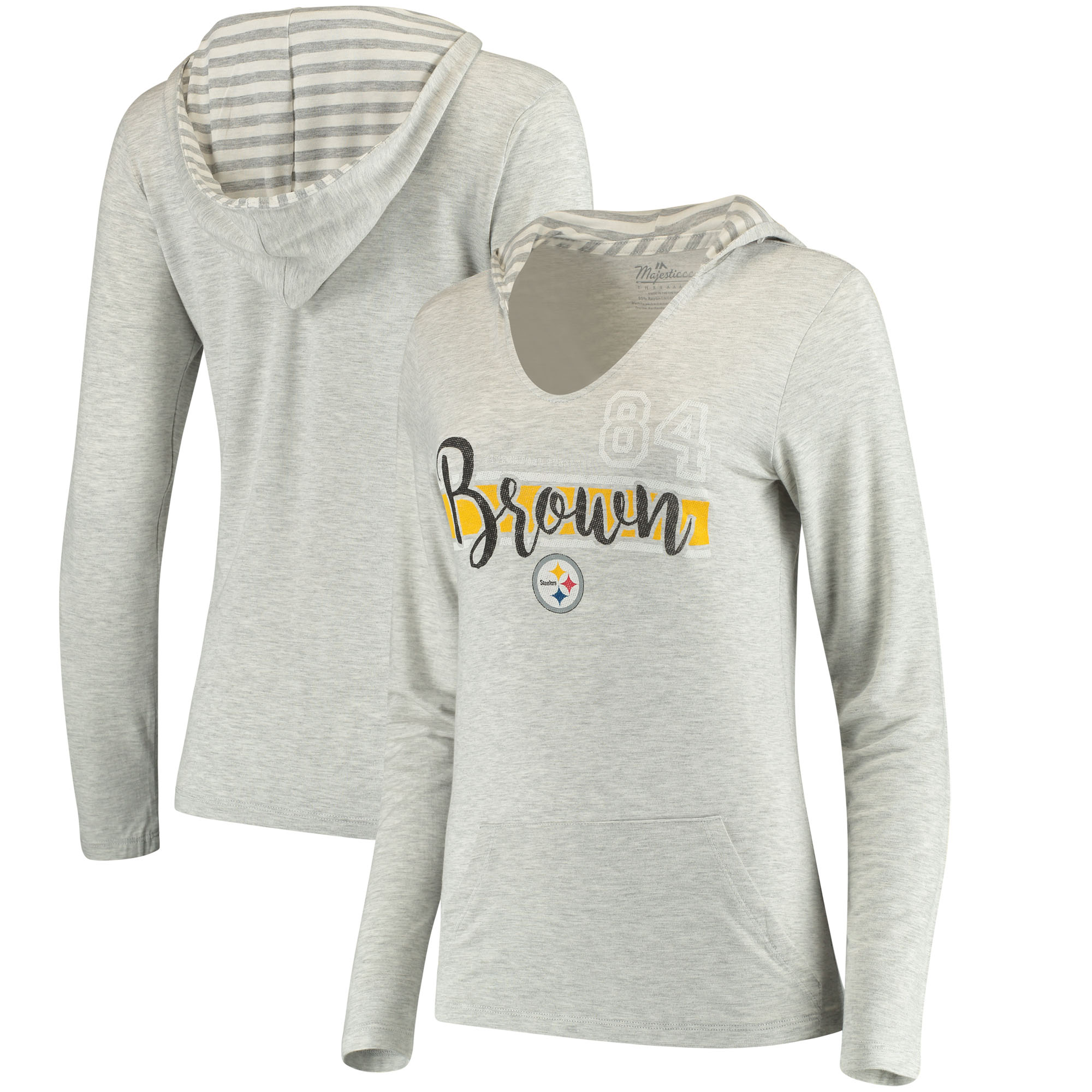 Antonio Brown Pittsburgh Steelers Women's Pocket Name & Number Hoodie T-Shirt - Gray