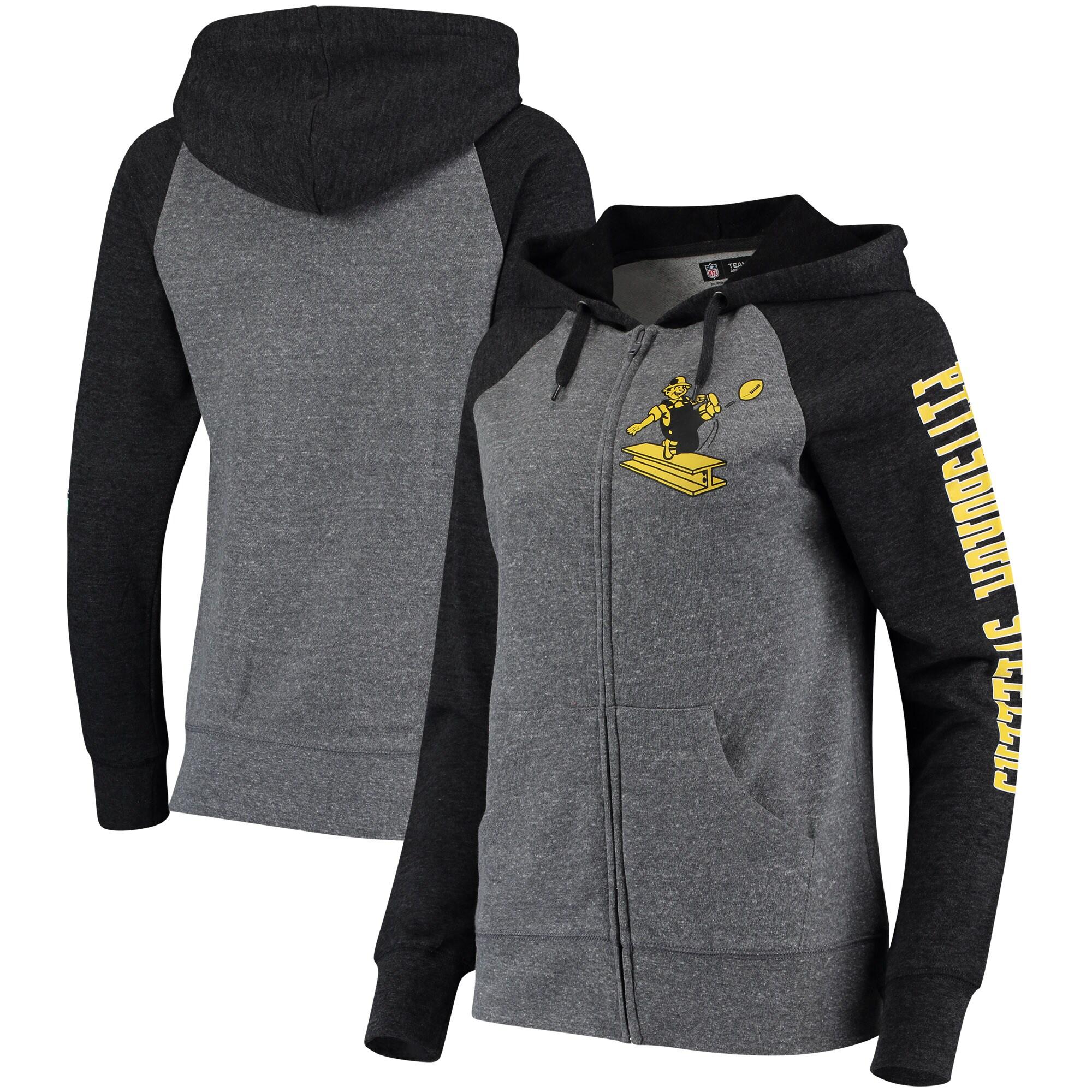 Pittsburgh Steelers 5th & Ocean by New Era Women's Fleece Tri-Blend Raglan Sleeve Full-Zip Hoodie - Heathered Gray/Black