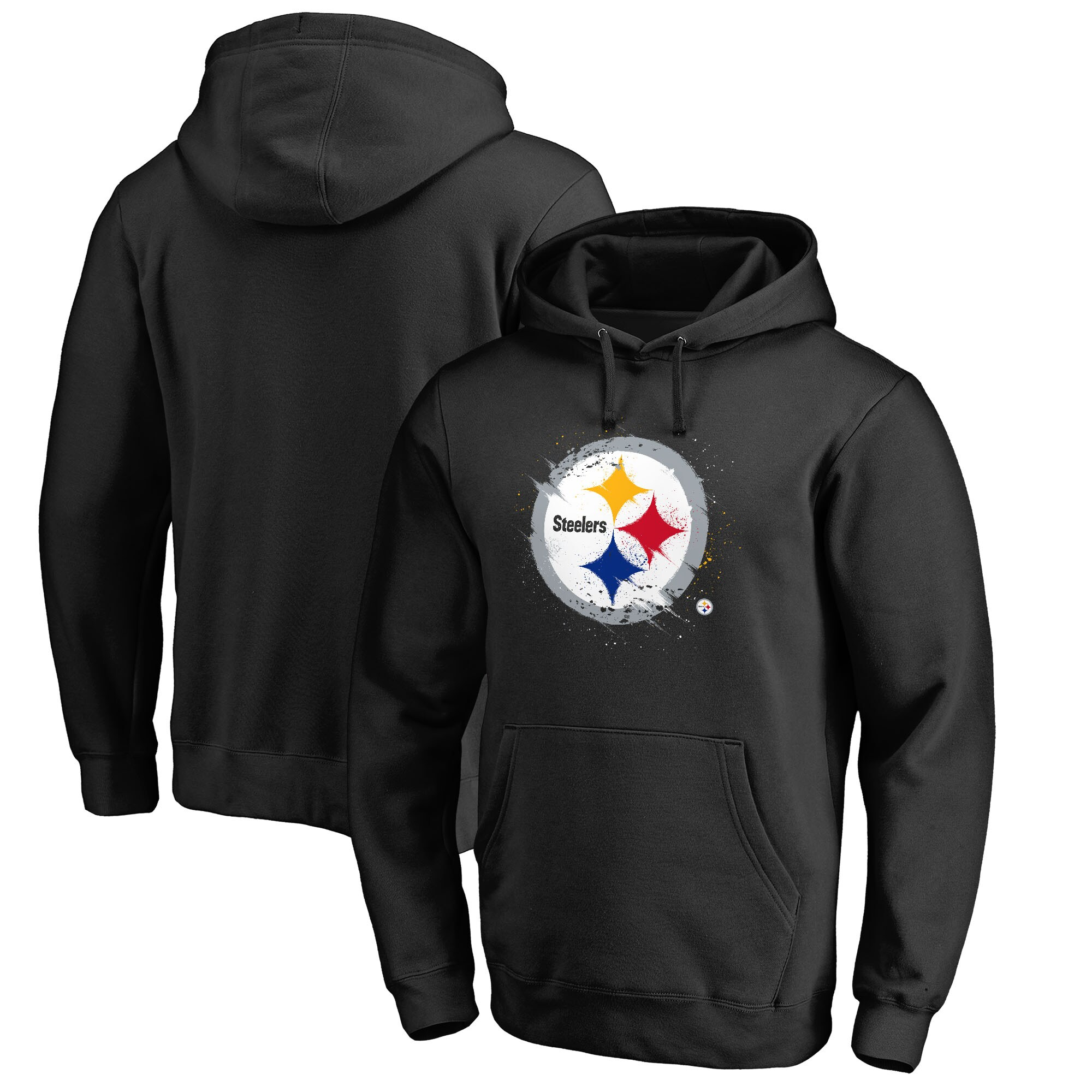 Pittsburgh Steelers NFL Pro Line by Fanatics Branded Splatter Logo Pullover Hoodie - Black