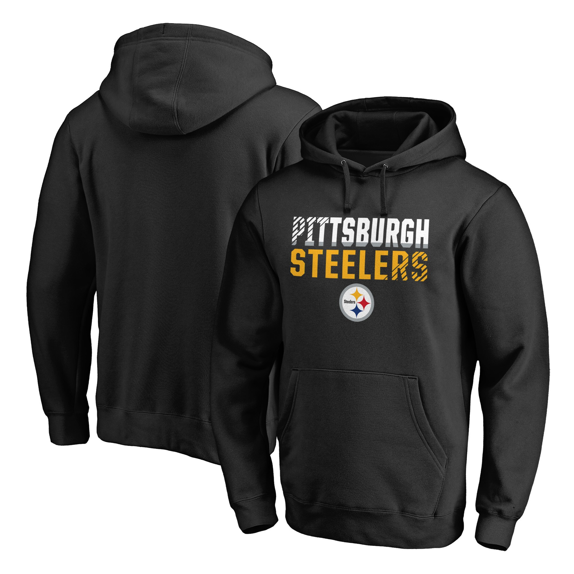 Pittsburgh Steelers NFL Pro Line by Fanatics Branded Iconic Collection Fade Out Pullover Hoodie - Black