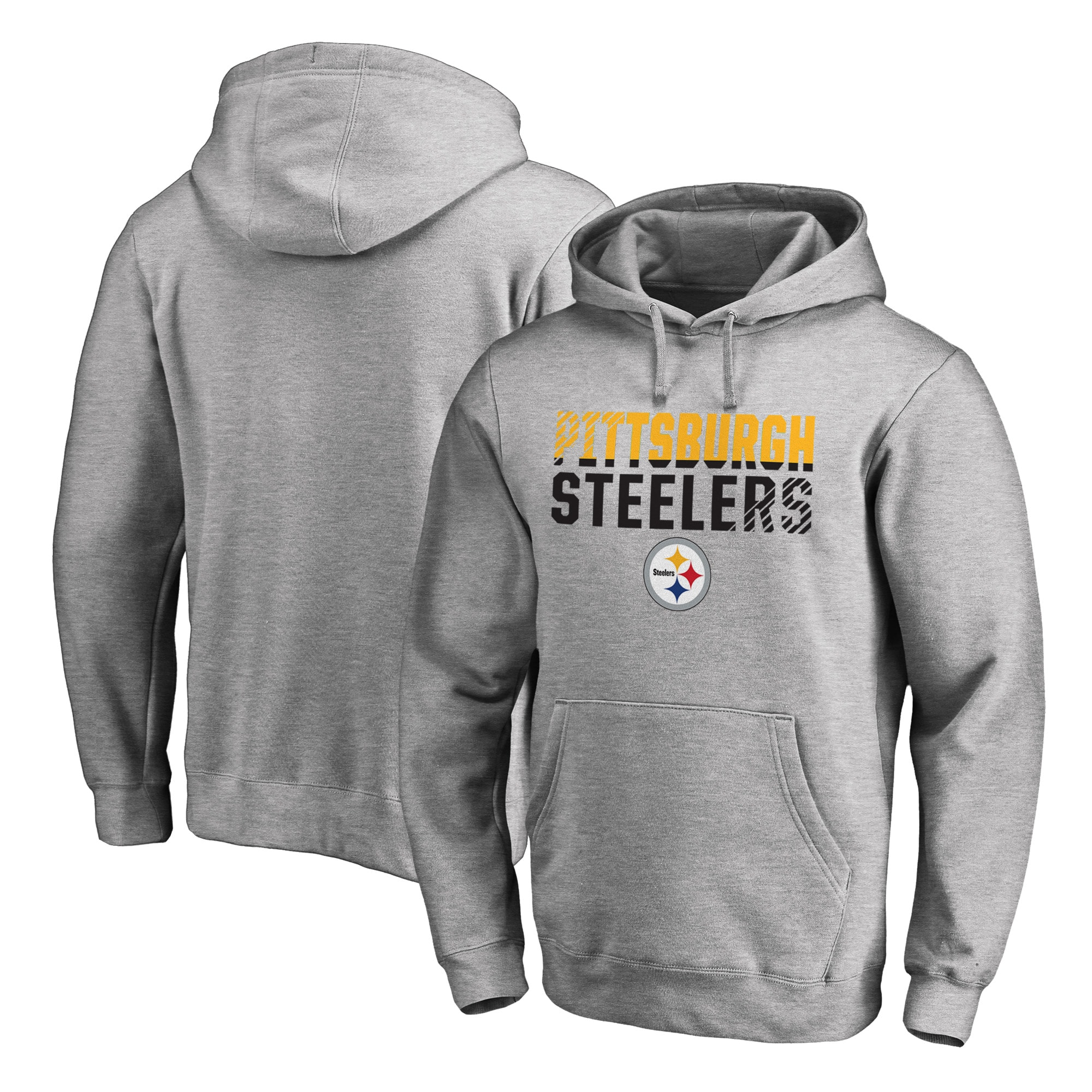Pittsburgh Steelers NFL Pro Line by Fanatics Branded Iconic Collection Fade Out Pullover Hoodie - Ash
