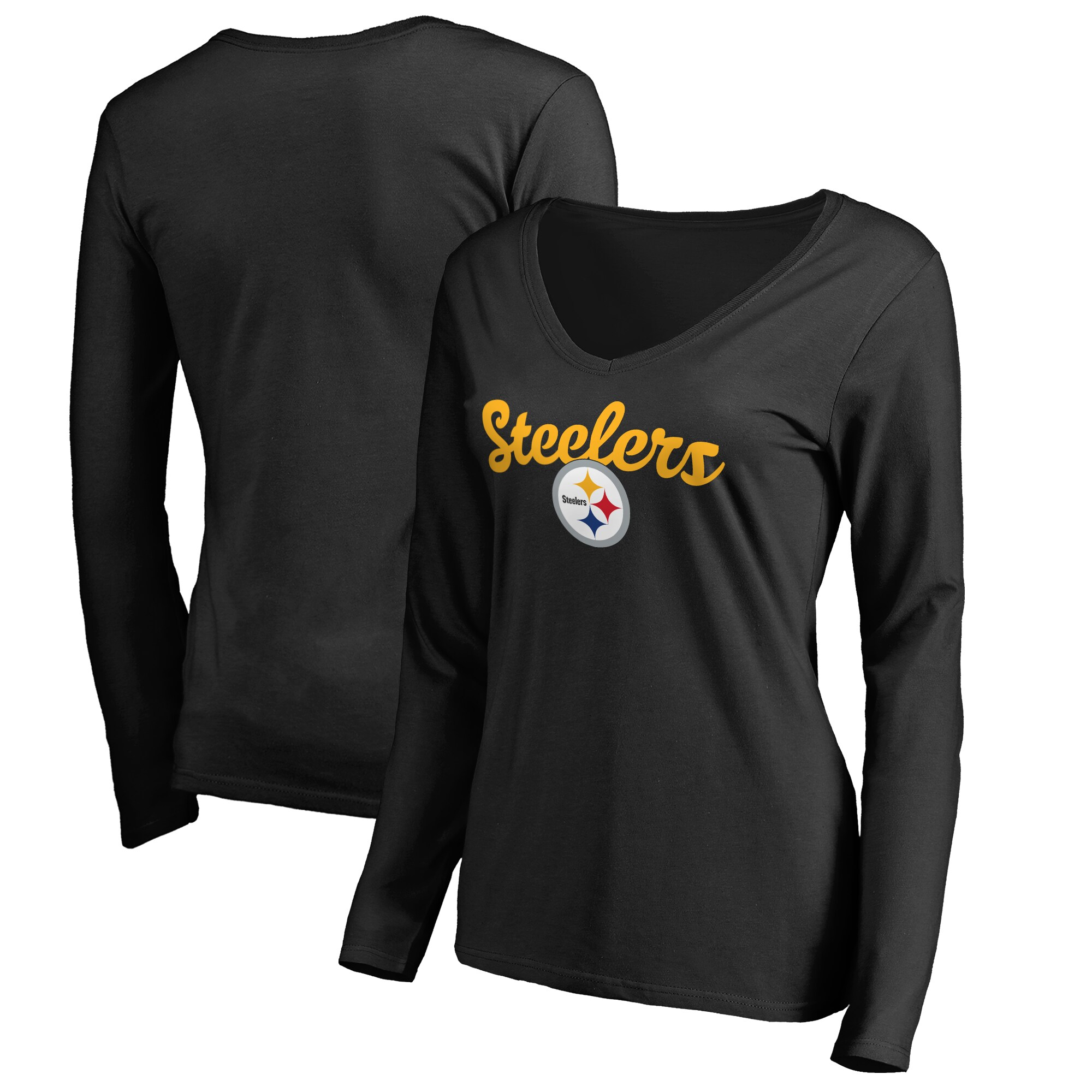 Pittsburgh Steelers Women's Plus Sizes Freehand Long Sleeve T-Shirt - Black