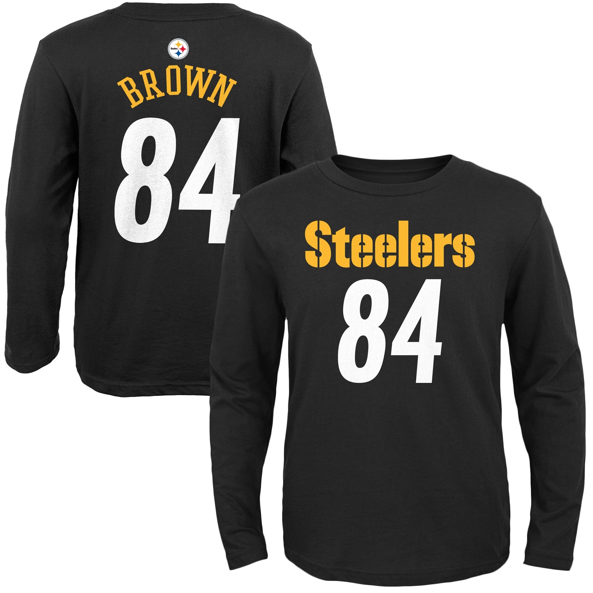 Antonio Brown Pittsburgh Steelers Youth Primary Gear Name & Number Long Sleeve T-Shirt - Black