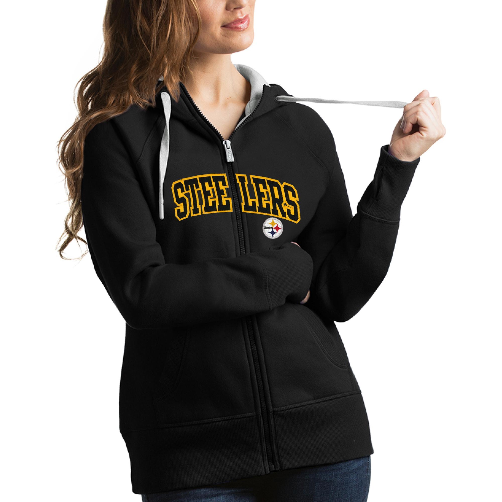 Pittsburgh Steelers Antigua Women's Victory Full-Zip Hoodie - Black