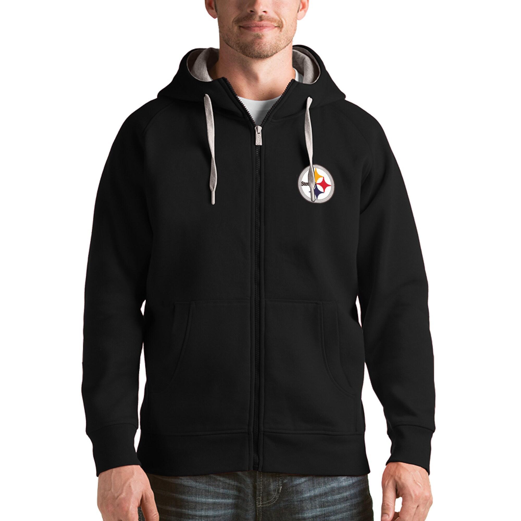 Pittsburgh Steelers Antigua Victory Full-Zip Hoodie - Black