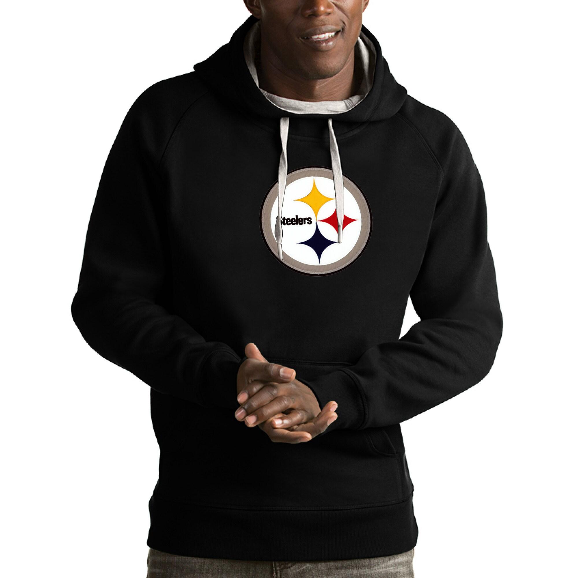 Pittsburgh Steelers Antigua Victory Pullover Hoodie - Black