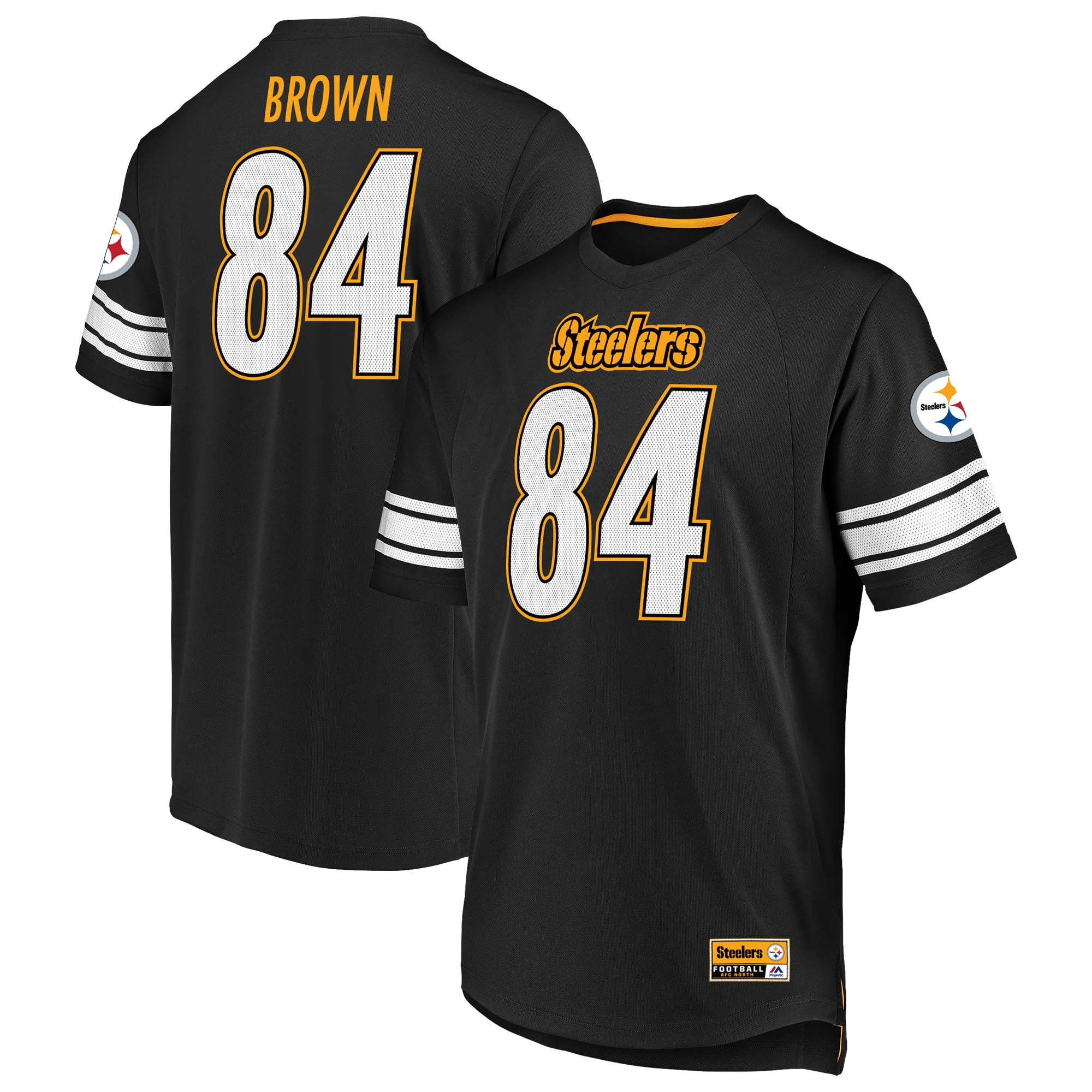 Antonio Brown Pittsburgh Steelers Majestic Hashmark Player Name & Number T-Shirt - Black