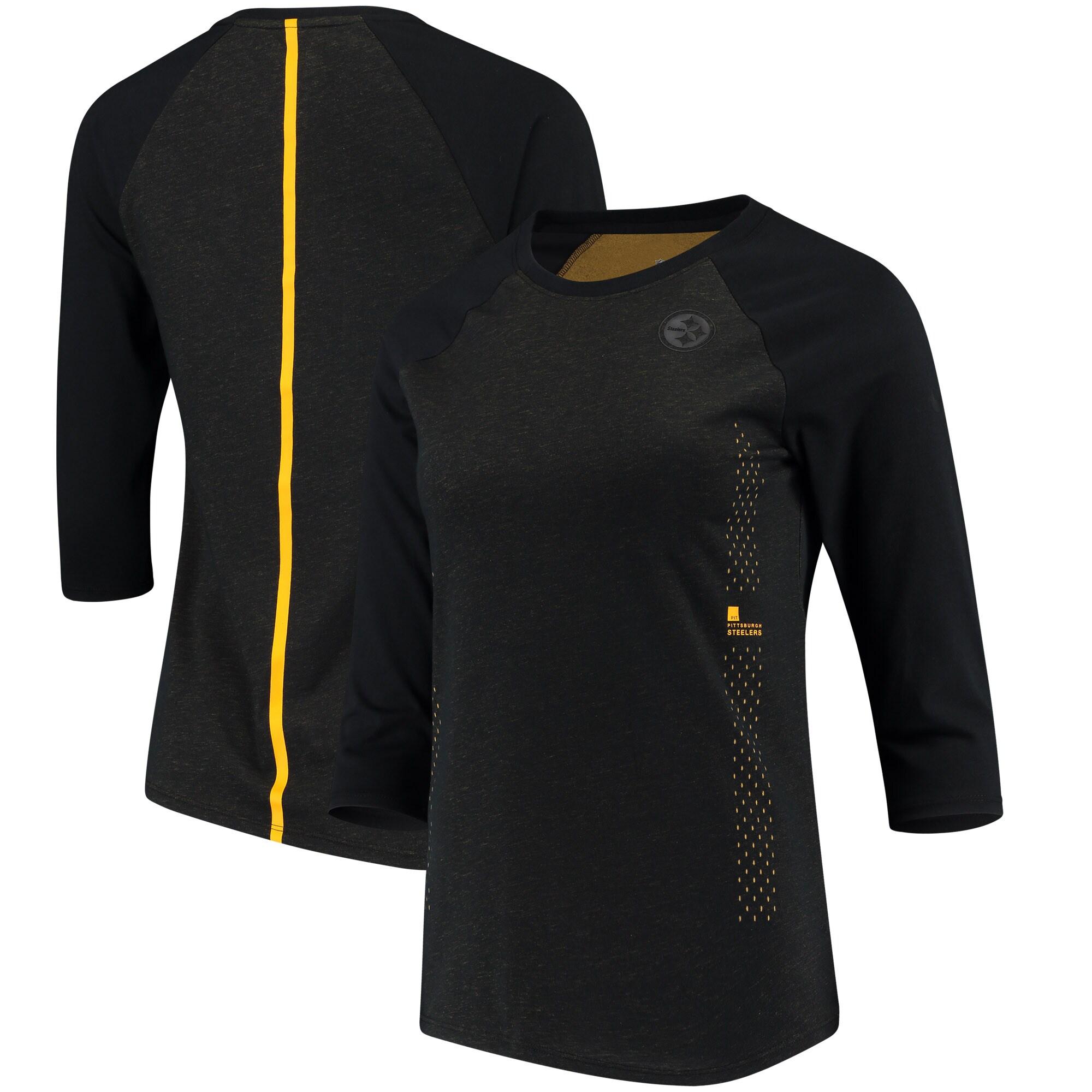 Pittsburgh Steelers Nike Women's Performance Black Pack 3/4 Sleeve Raglan T-Shirt - Black