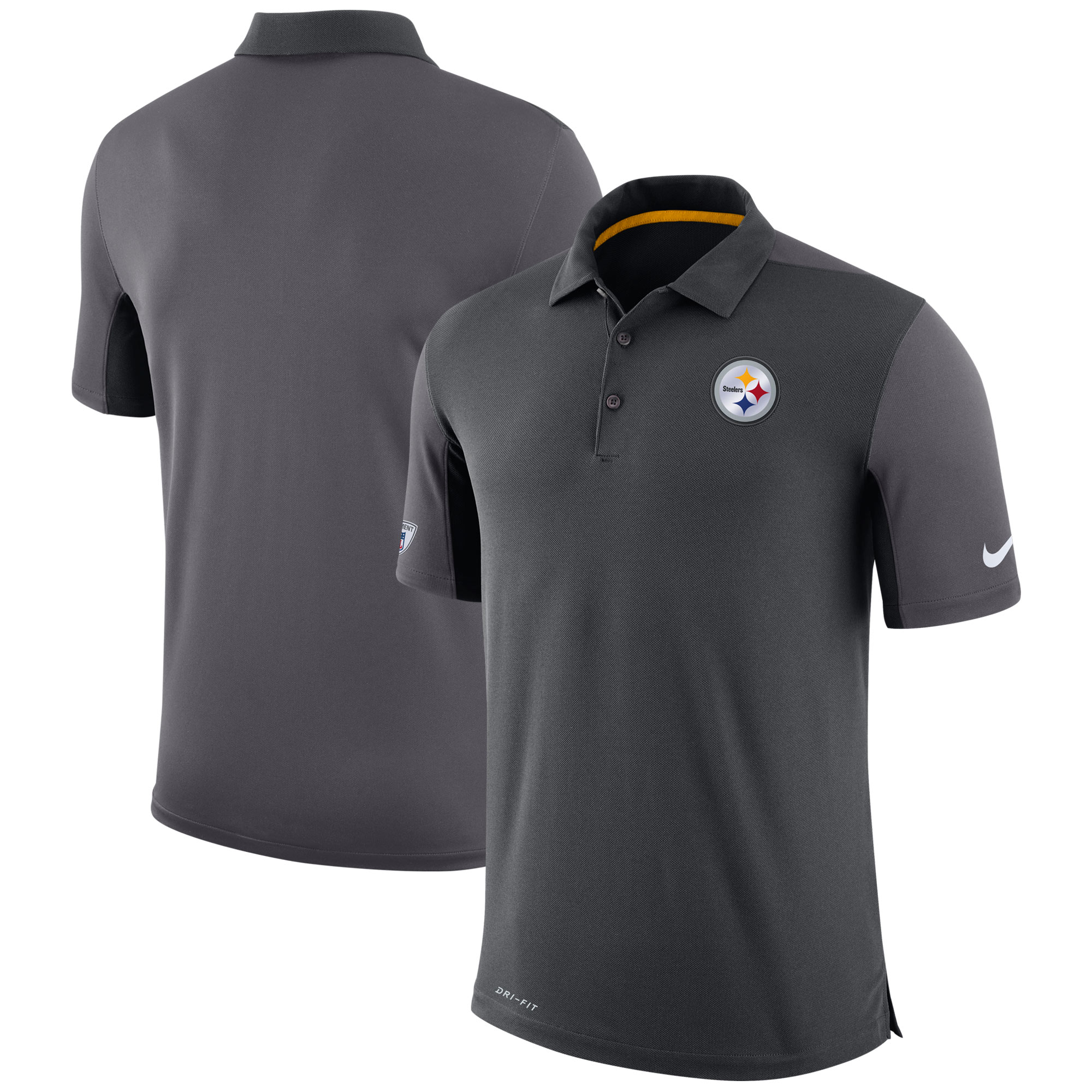Pittsburgh Steelers Nike Sideline Team Issue Logo Performance Polo - Charcoal