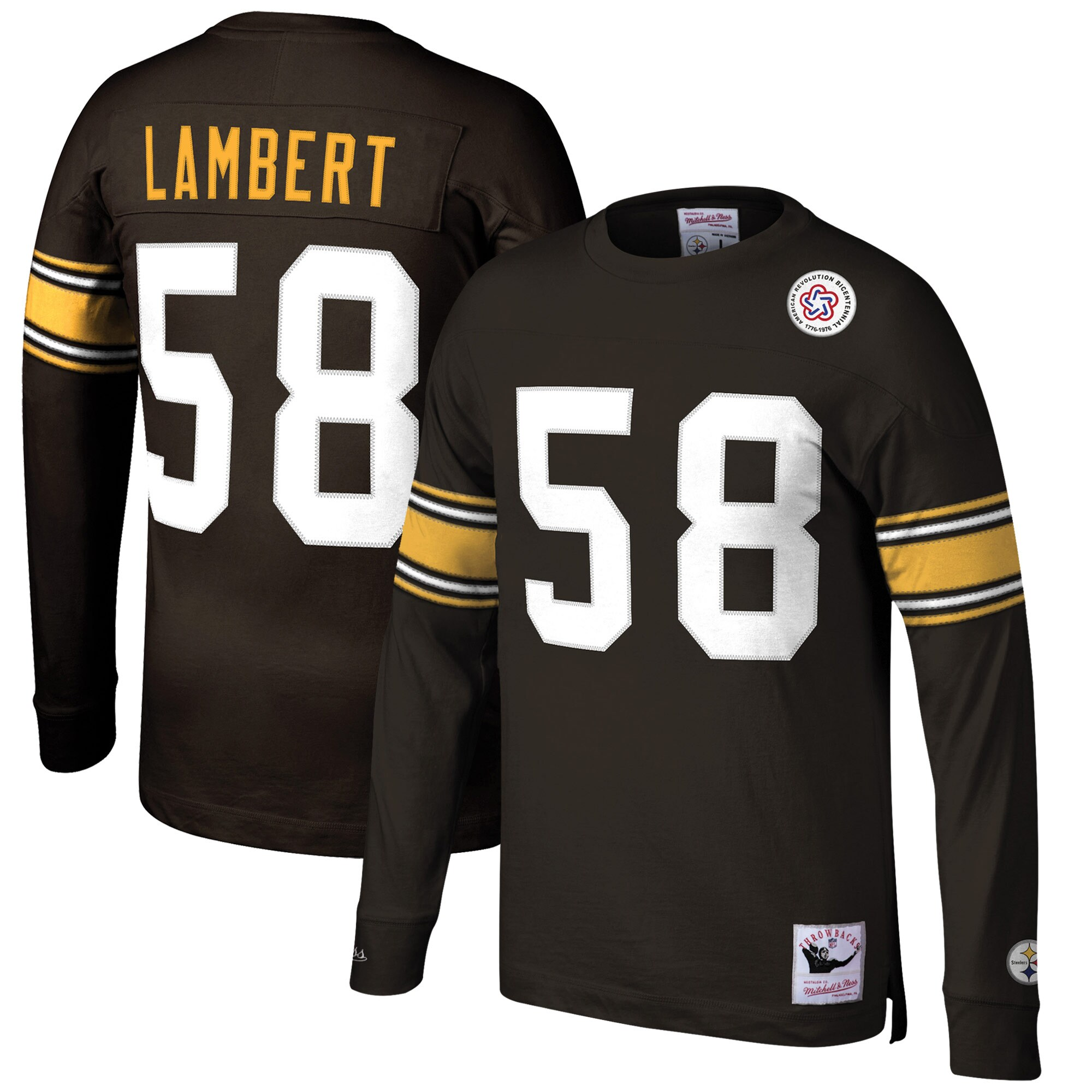 Jack Lambert Pittsburgh Steelers Mitchell & Ness Retired Player Name & Number Long Sleeve Top - Black