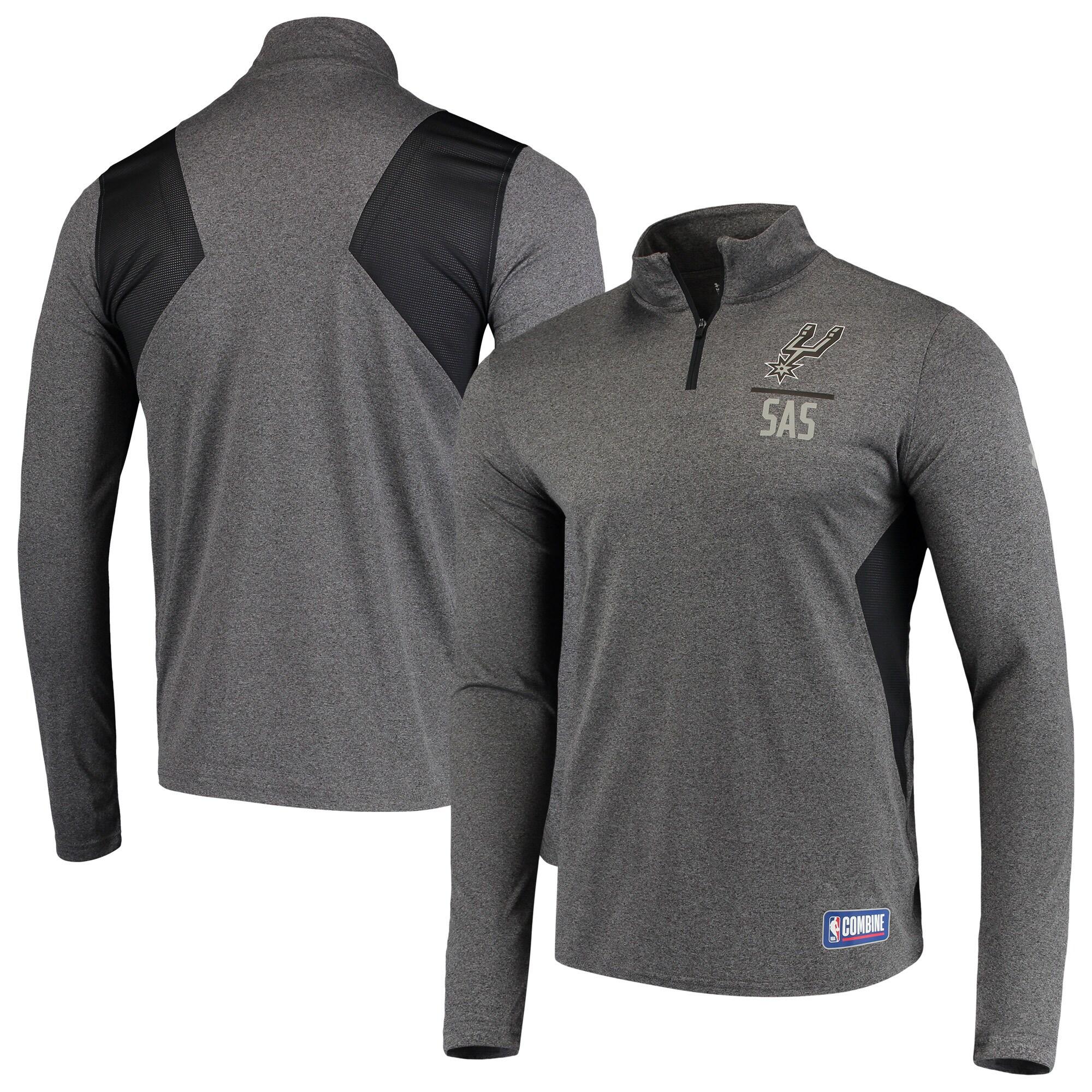 San Antonio Spurs Under Armour Combine Authentic Season Tech Quarter-Zip Pullover Jacket - Heathered Charcoal