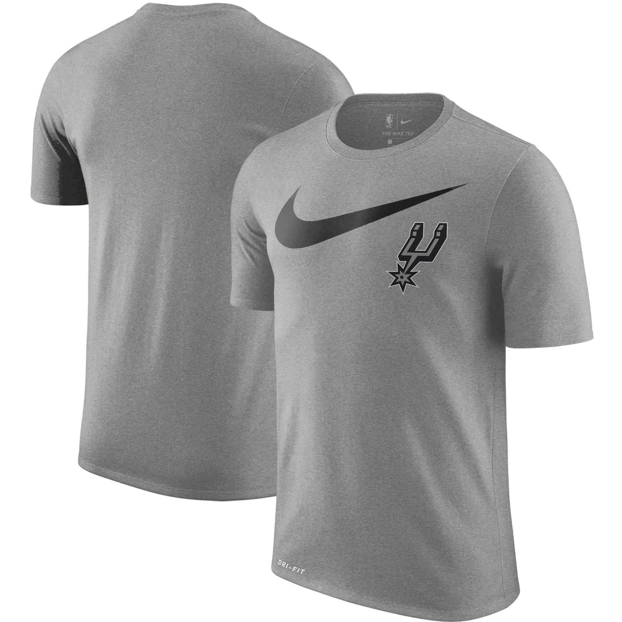 San Antonio Spurs Nike Essential Swoosh Logo Legend T-Shirt - Heathered Charcoal