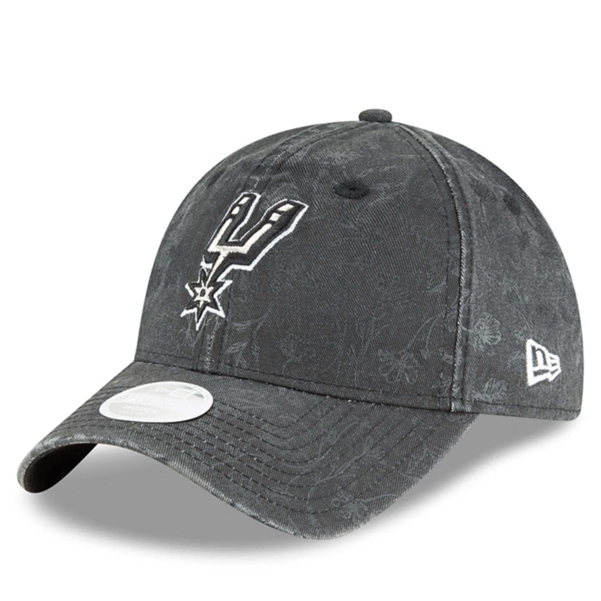 San Antonio Spurs New Era Women's Floral Peek 9TWENTY Adjustable Hat - Black