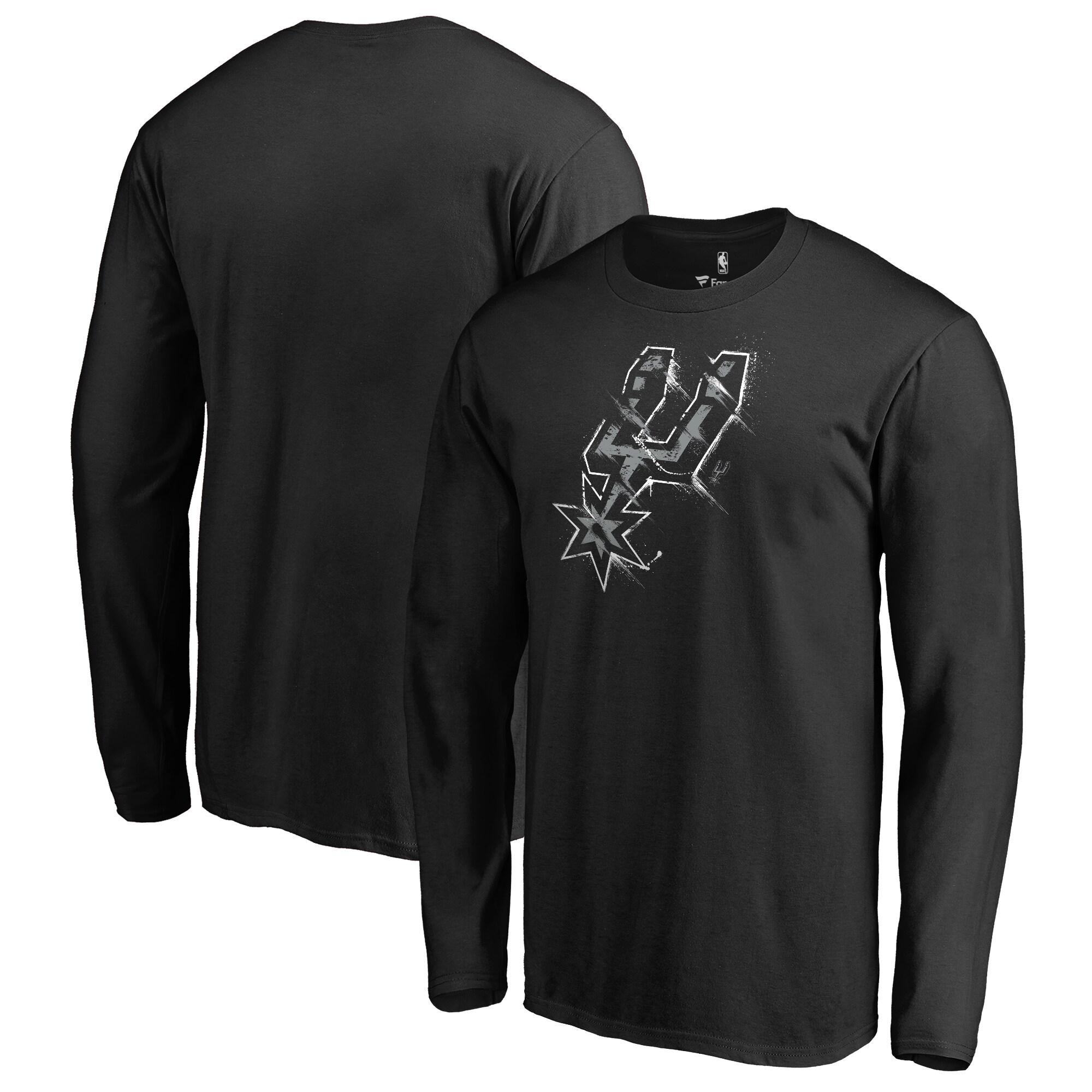 San Antonio Spurs Fanatics Branded Splatter Logo Long Sleeve T-Shirt - Black