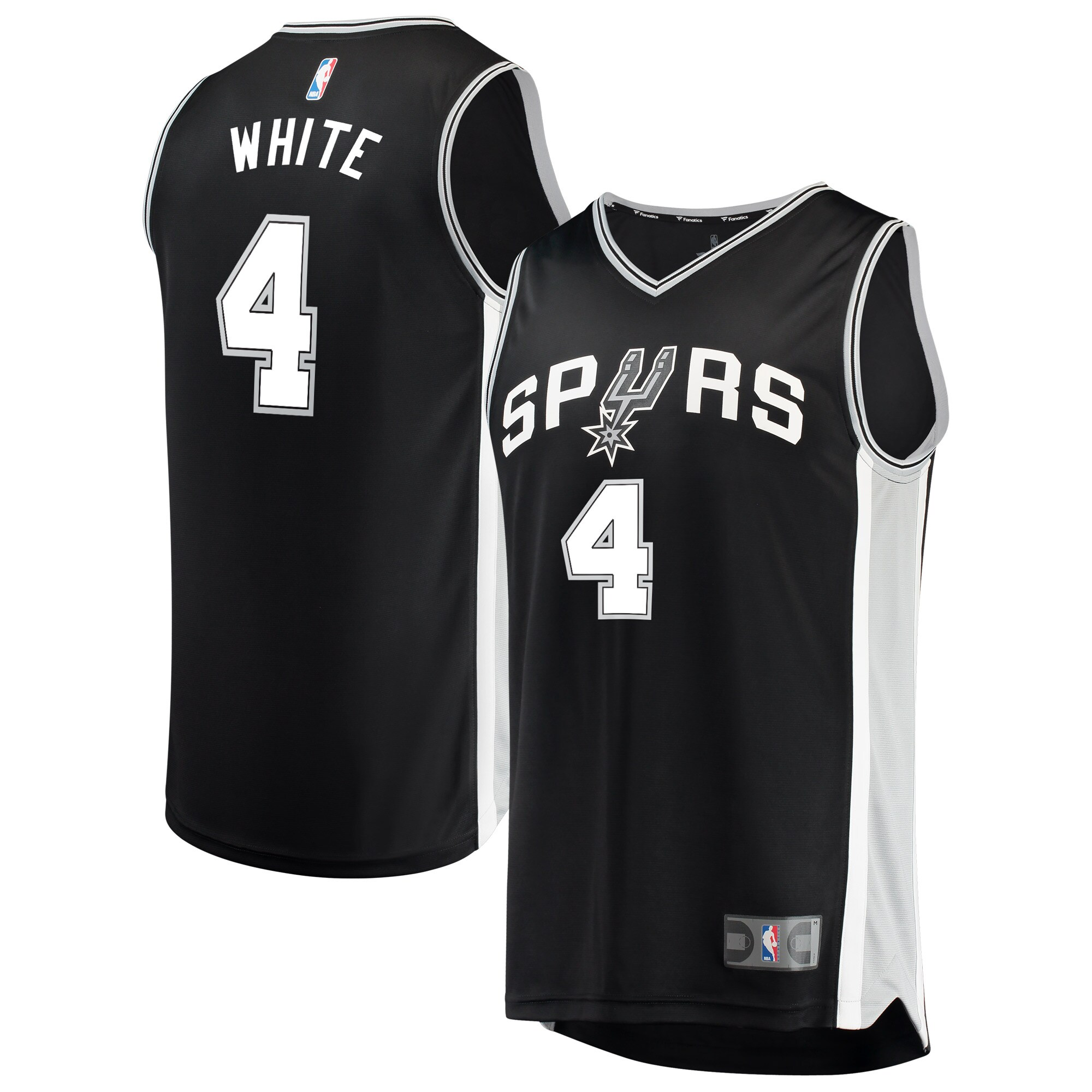 Derrick White San Antonio Spurs Fanatics Branded Fast Break Road Replica Player Jersey Black - Icon Edition