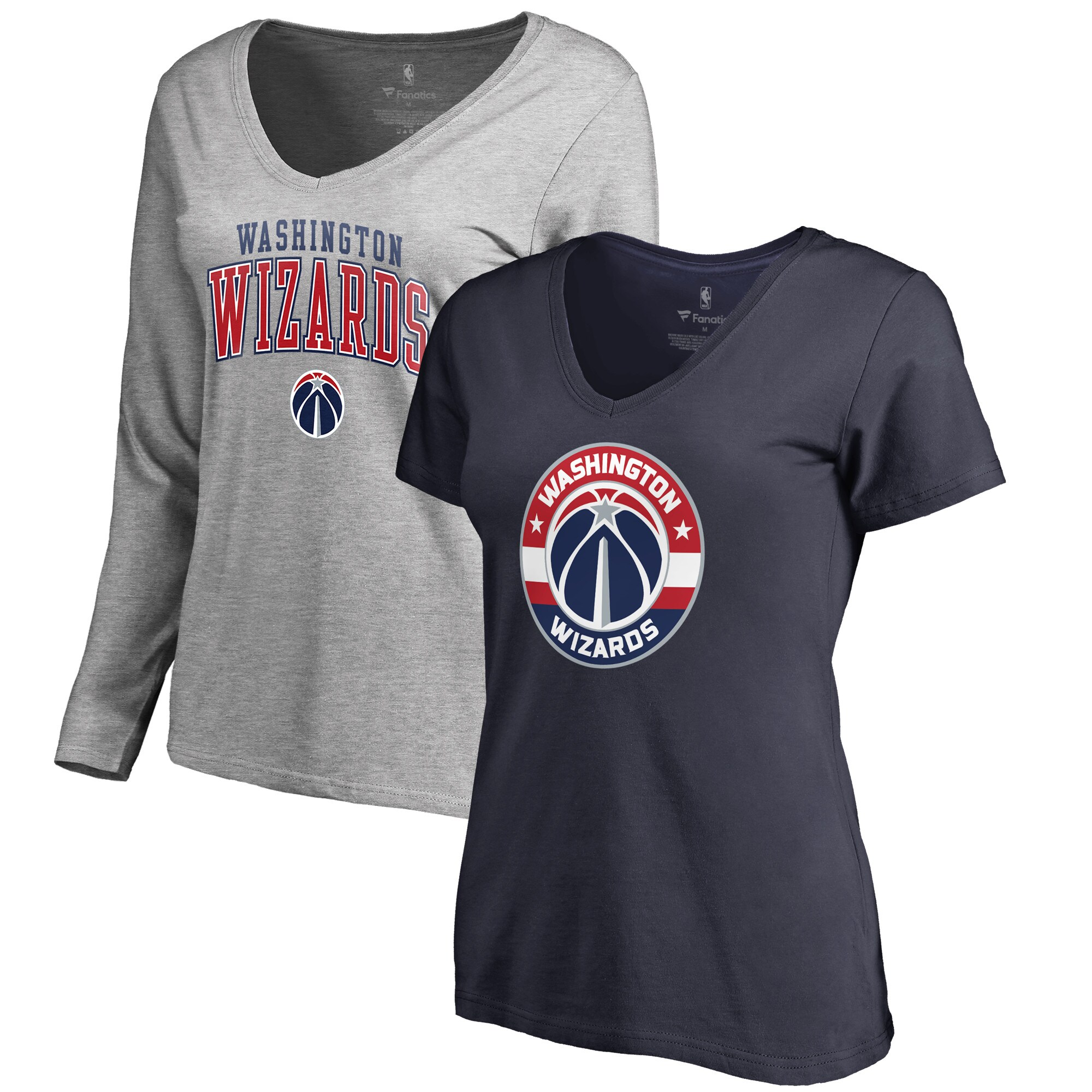 Washington Wizards Fanatics Branded Women's Square Up Combo V-Neck T-Shirt Set - Navy/Gray