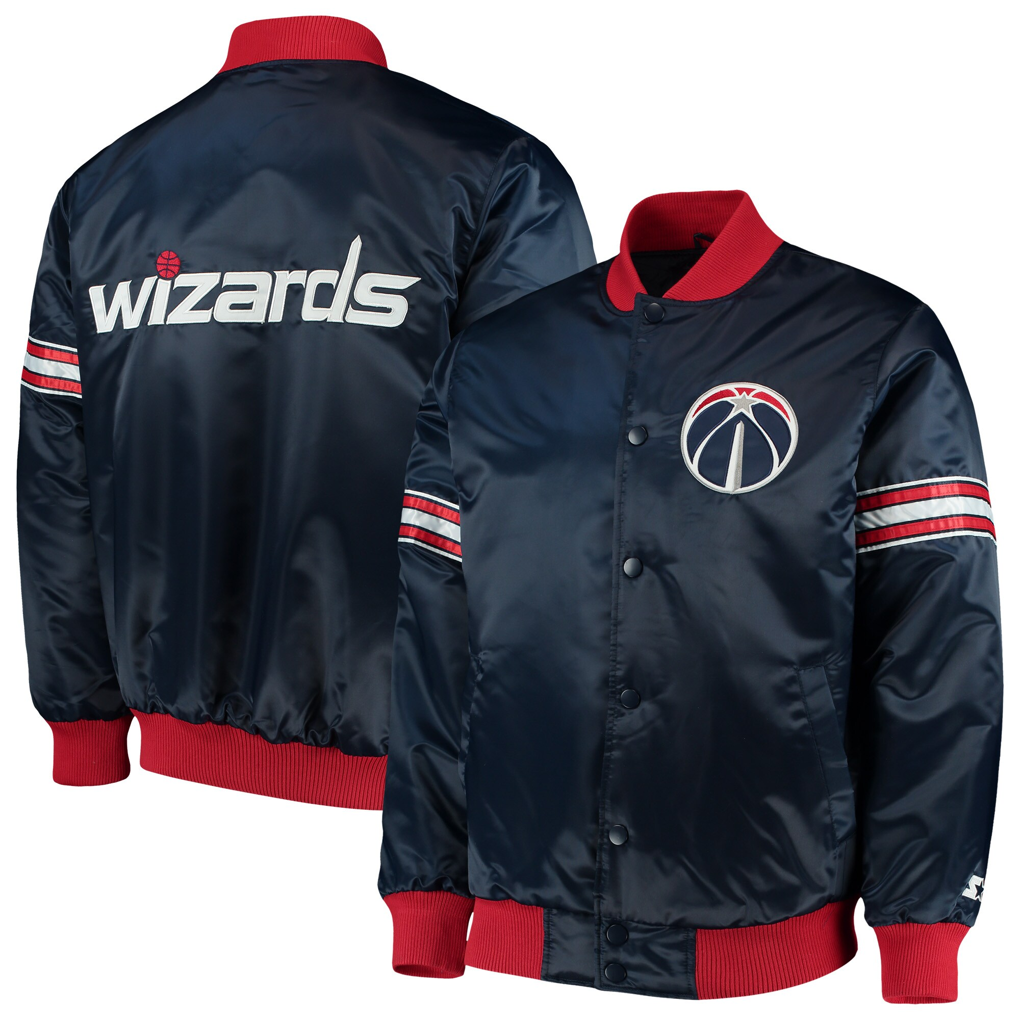 Washington Wizards Starter The Draft Pick Varsity Satin Full-Snap Jacket - Navy