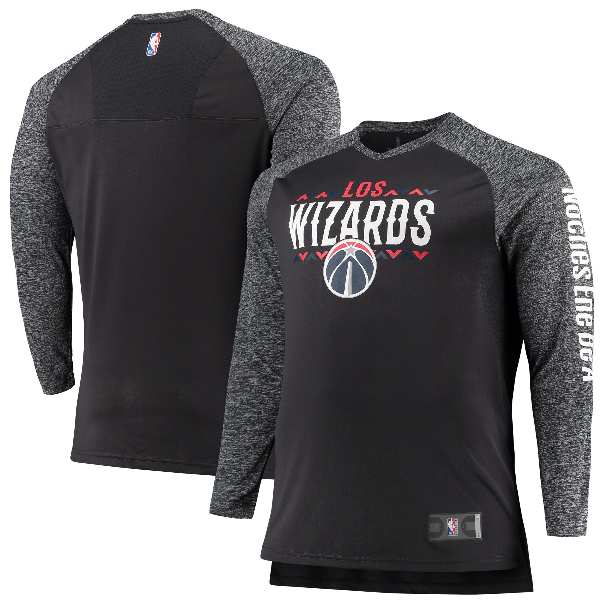 Washington Wizards Fanatics Branded Noches Shooting Long Sleeve Raglan V-Neck T-Shirt - Gray