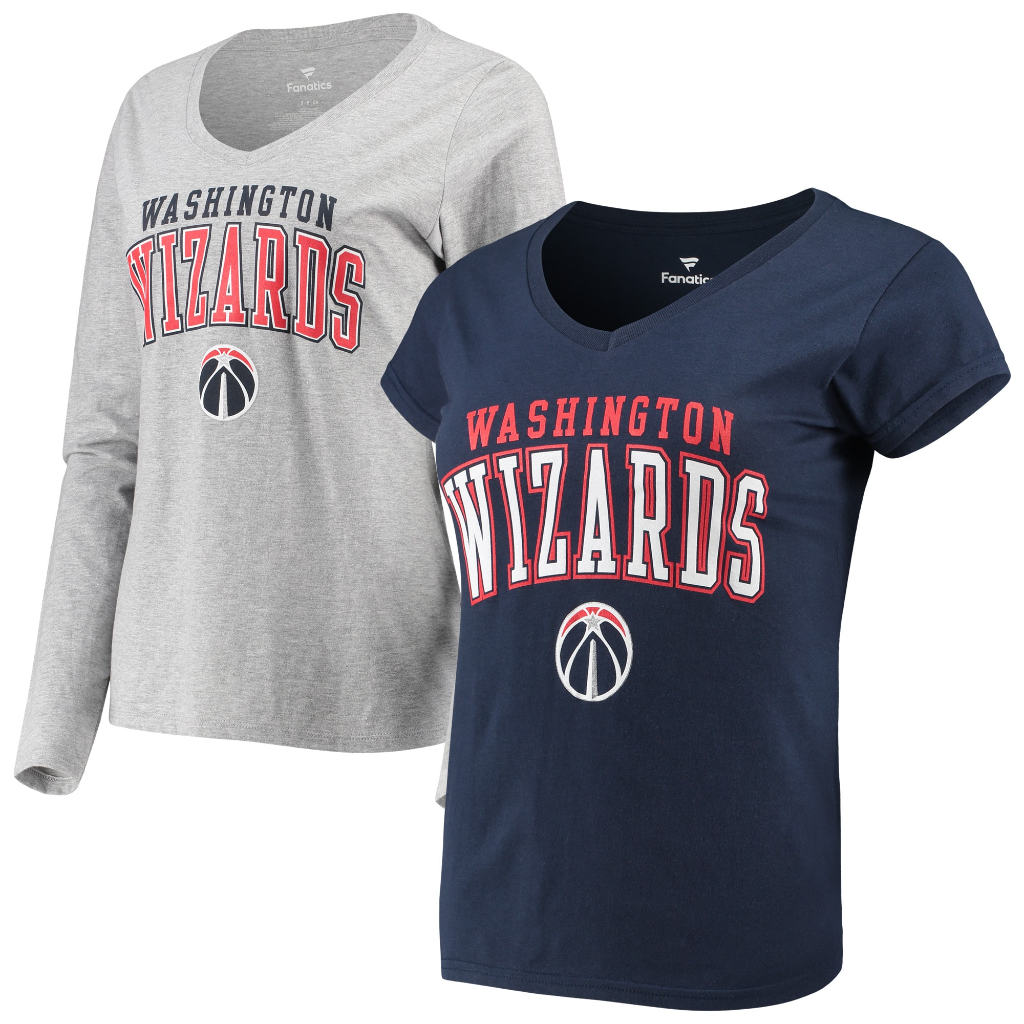Washington Wizards Fanatics Branded Women's Square V-Neck T-Shirt Combo Set - Navy/Gray
