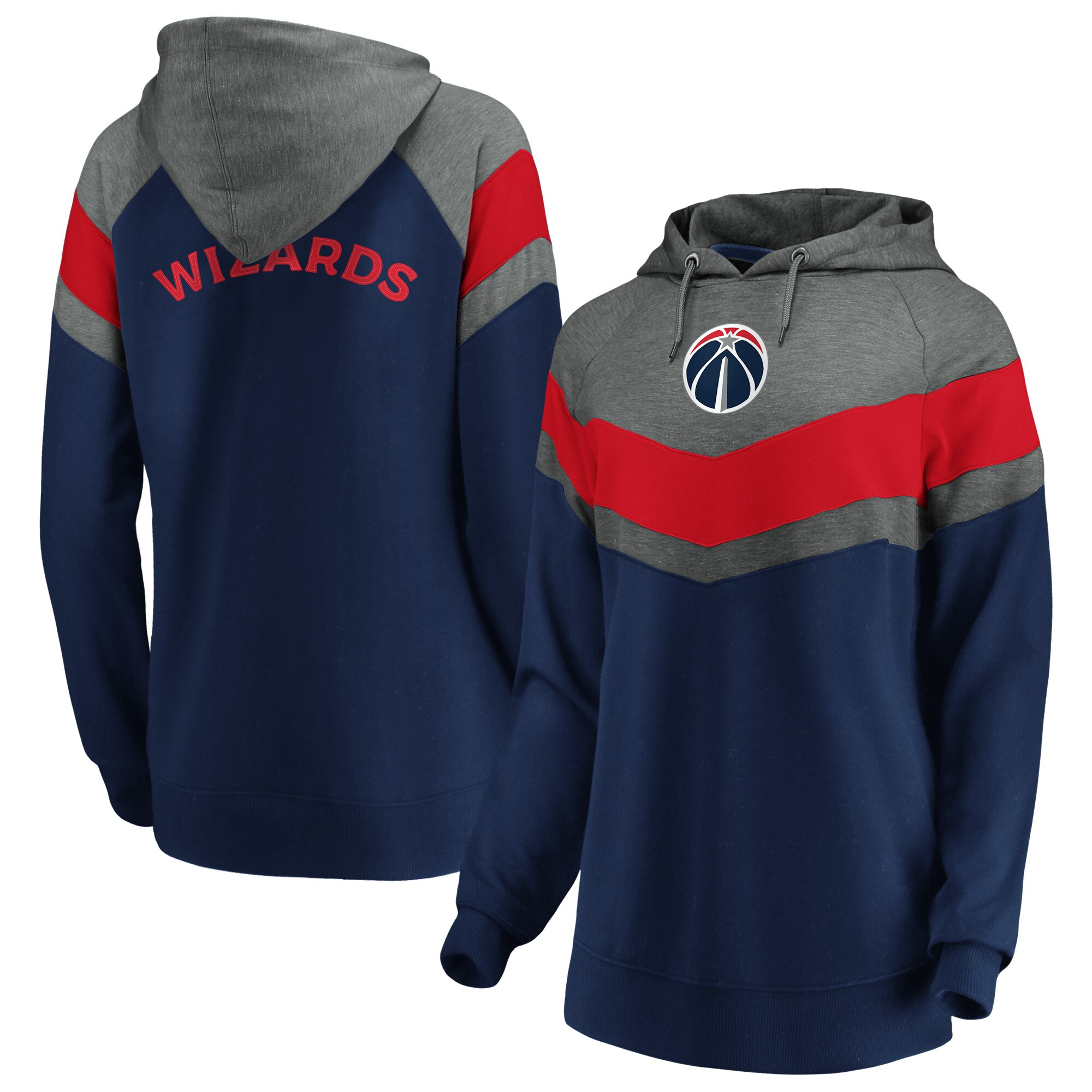 Washington Wizards Fanatics Branded Women's True Classics Go All Out Chevron Pullover Hoodie - Gray/Navy