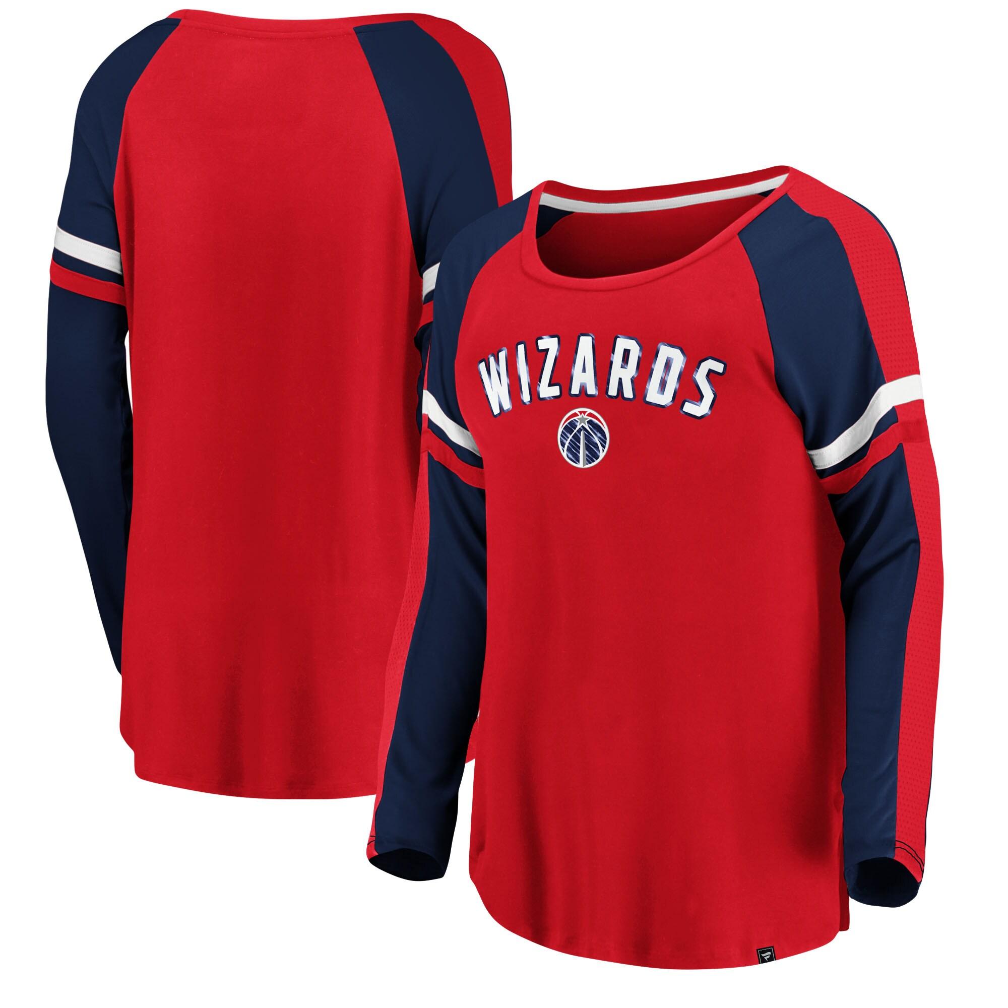 Washington Wizards Fanatics Branded Women's Iconic Flashy Long Sleeve T-Shirt - Red/Navy