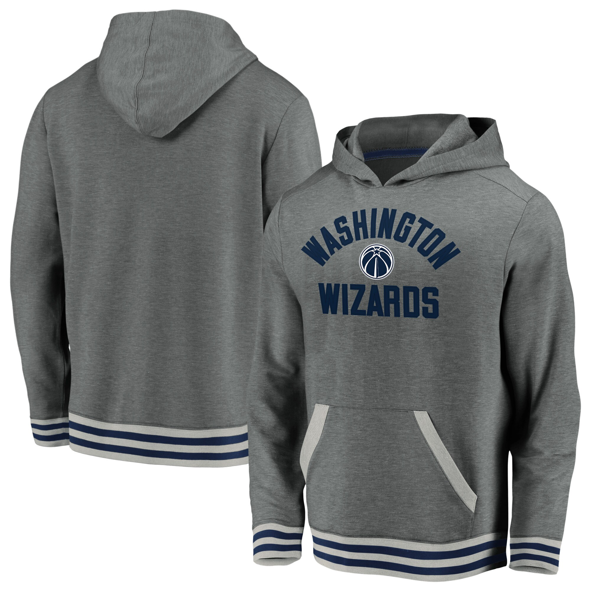 Washington Wizards Fanatics Branded True Classics Vintage Upperclassman Tri-Blend Pullover Hoodie - Gray