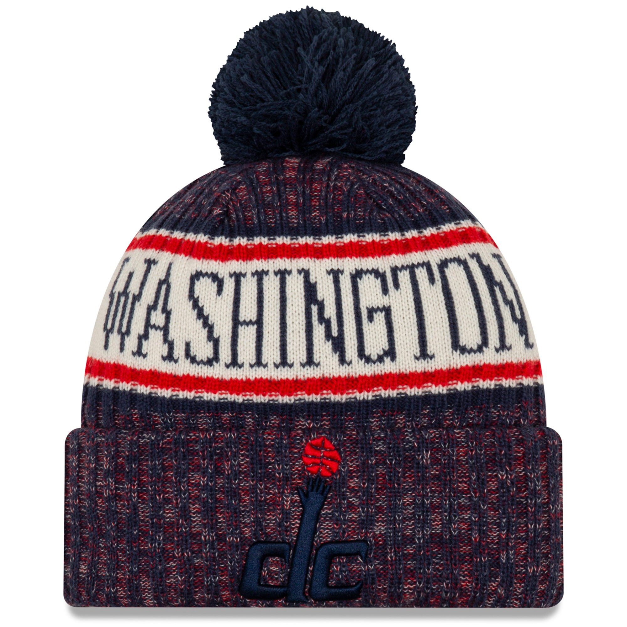 Washington Wizards New Era Sport Cuffed Knit Hat with Pom - Navy