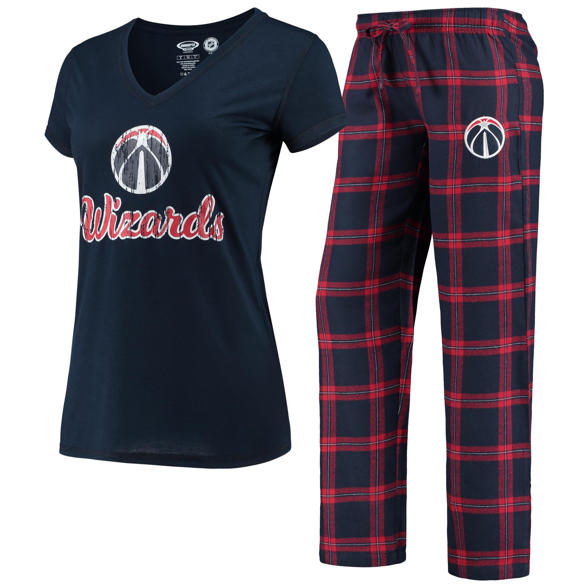 Washington Wizards Concepts Sport Women's Troupe V-Neck T-Shirt & Pants Sleep Set - Navy
