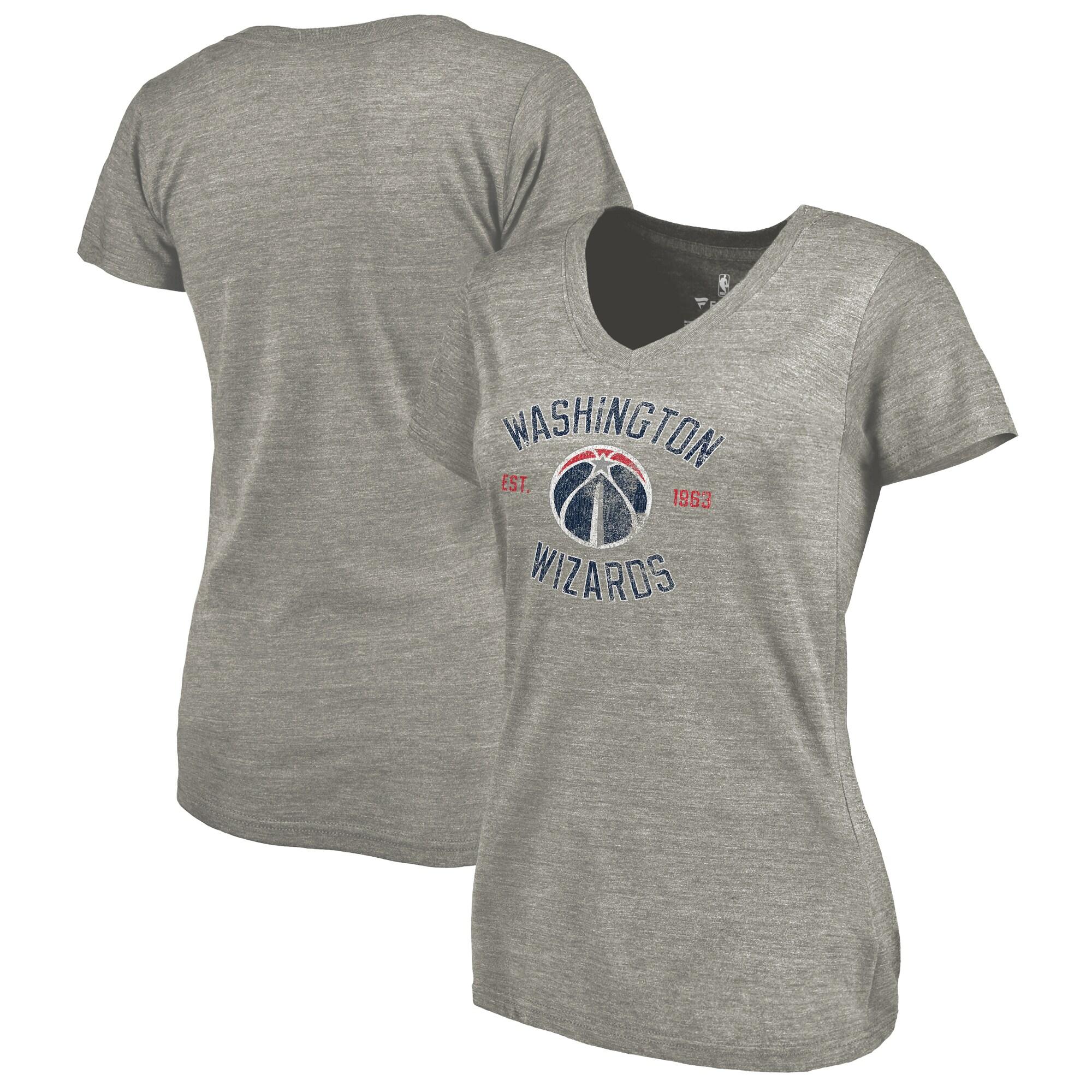 Washington Wizards Fanatics Branded Women's Heritage Tri-Blend V-Neck T-Shirt - Heathered Gray