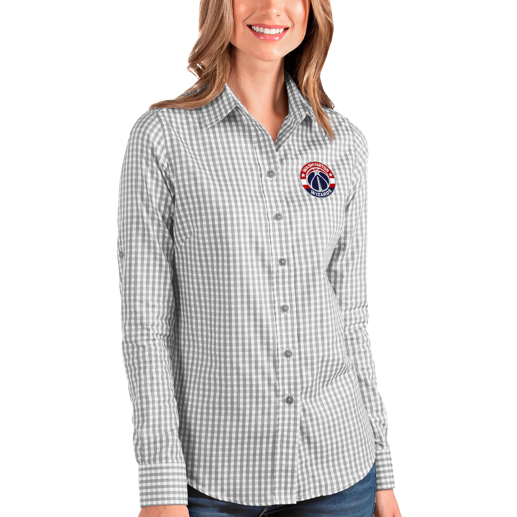 Washington Wizards Antigua Women's Structure Button-Up Long Sleeve Shirt - Charcoal/White