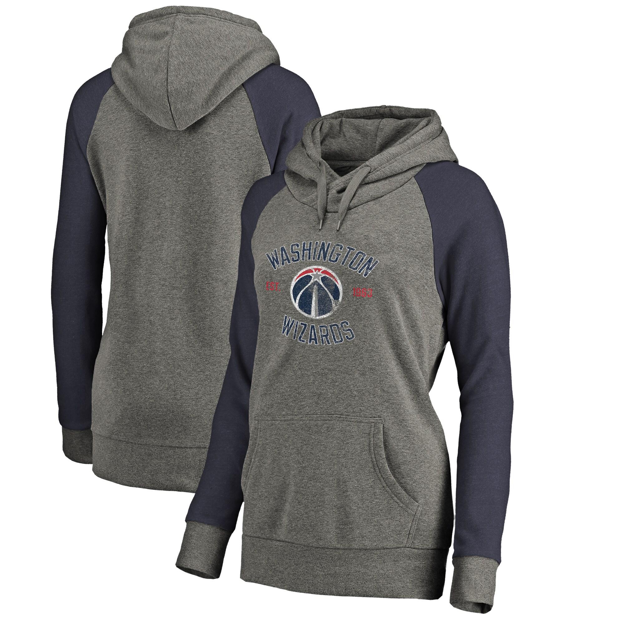 Washington Wizards Fanatics Branded Women's Heritage Tri-Blend Raglan Plus Size Pullover Hoodie - Heathered Gray