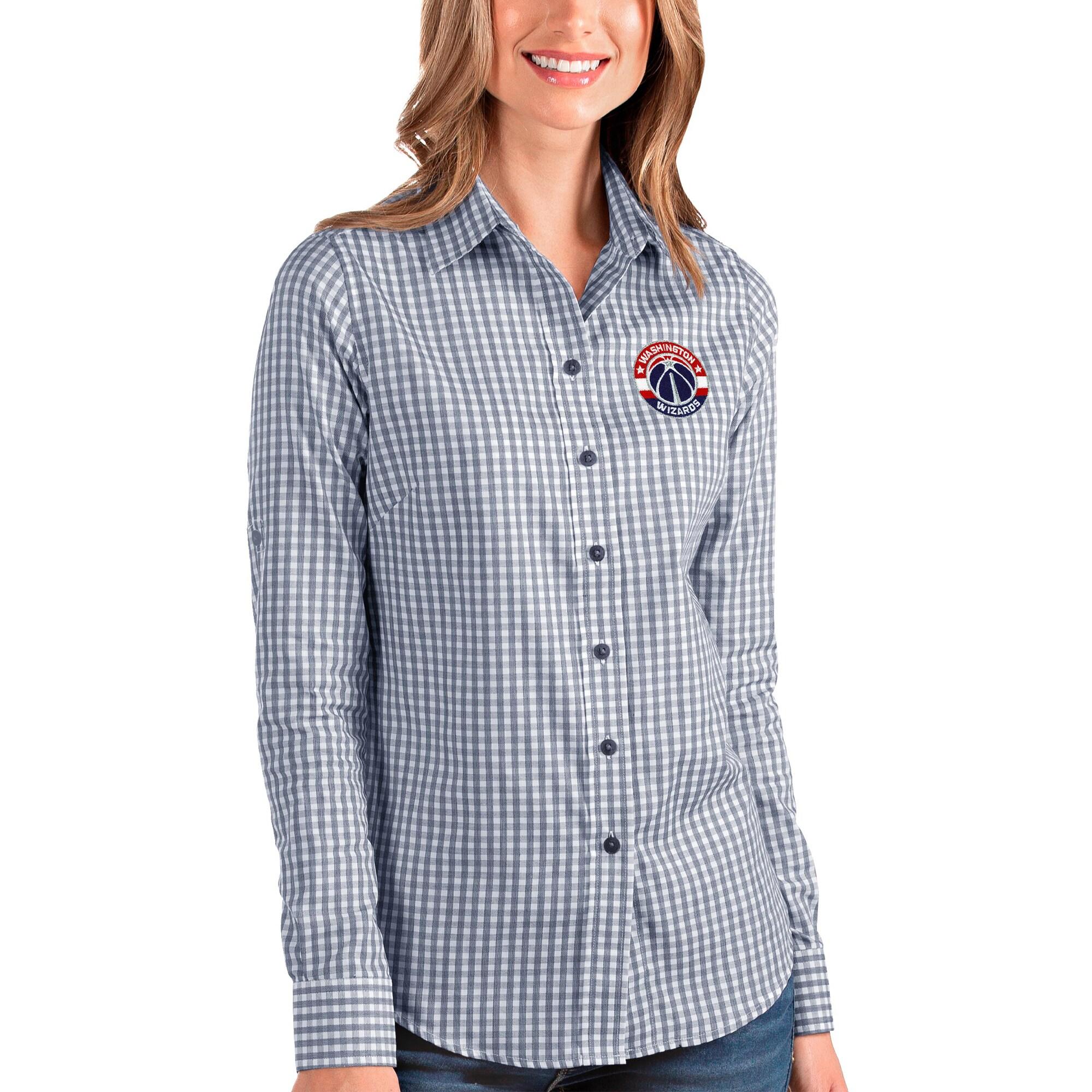Washington Wizards Antigua Women's Structure Button-Up Long Sleeve Shirt - Navy/White