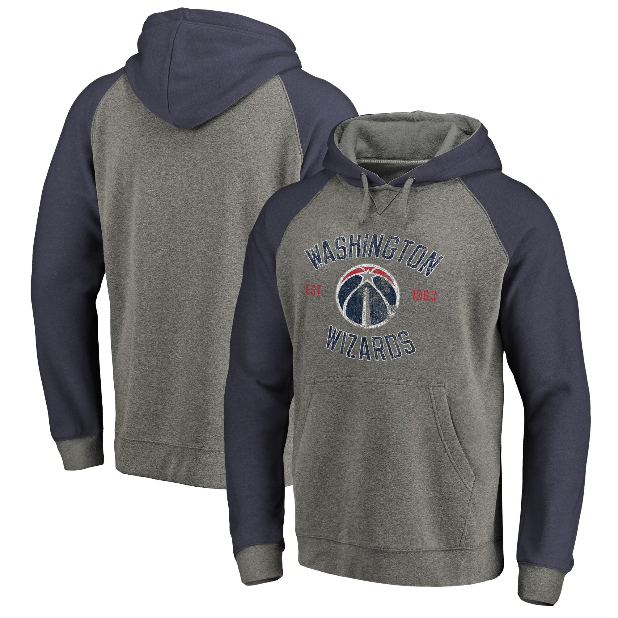 Washington Wizards Fanatics Branded Heritage Tri-Blend Raglan Pullover Hoodie - Heathered Gray