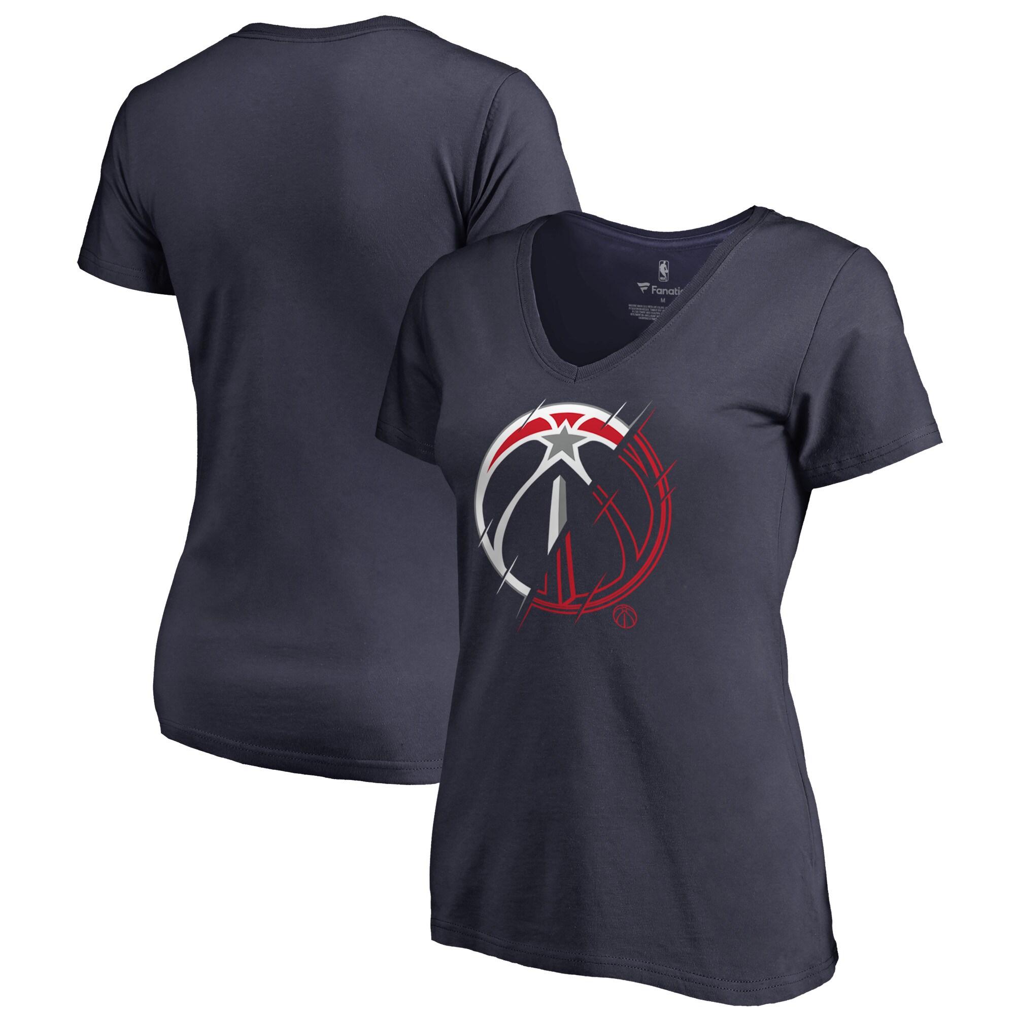 Washington Wizards Fanatics Branded Women's X-Ray Slim Fit V-Neck T-Shirt - Navy