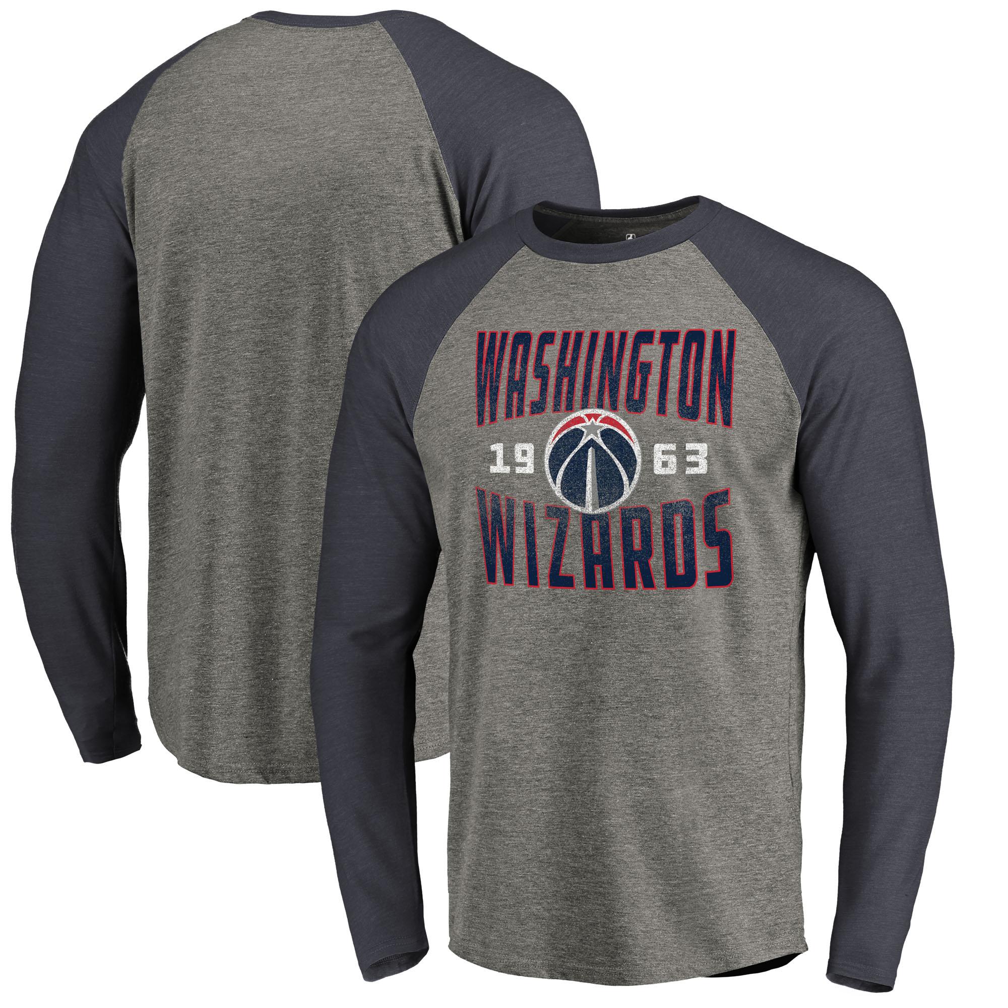 Washington Wizards Fanatics Branded Antique Stack Long Sleeve Tri-Blend Raglan T-Shirt - Ash