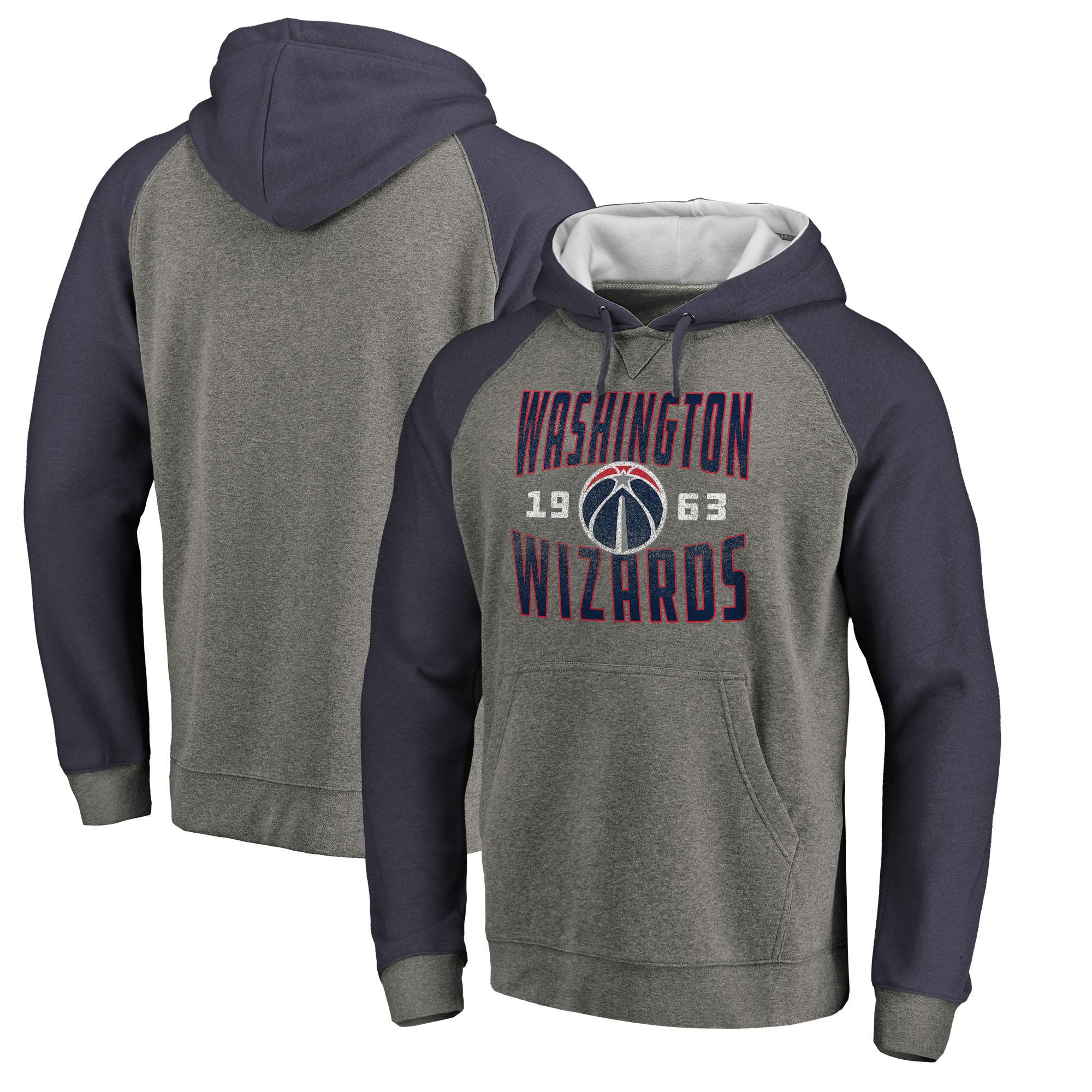 Washington Wizards Fanatics Branded Ash Antique Stack Tri-Blend Raglan Pullover Hoodie