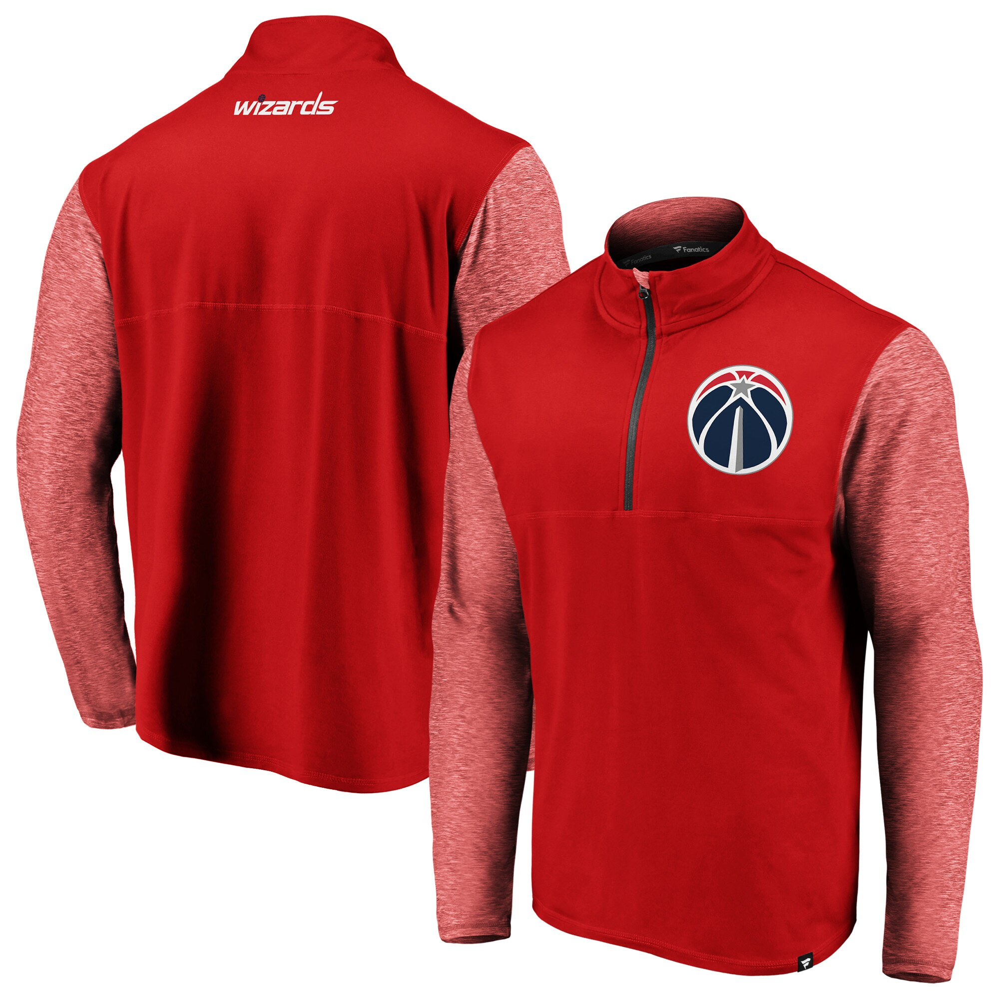 Washington Wizards Fanatics Branded Made to Move Static Performance Quarter-Zip Pullover Jacket - Red/Heathered Red