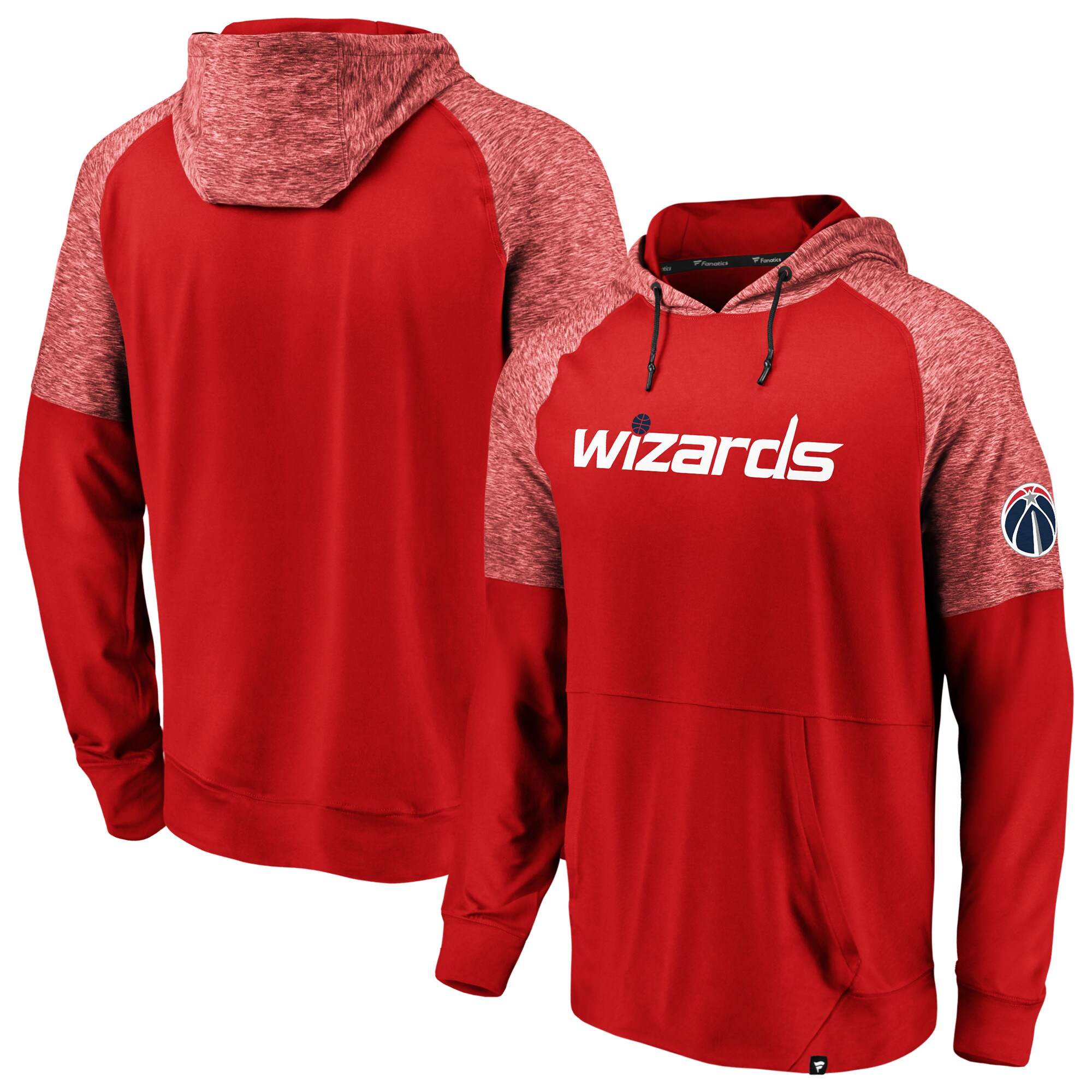 Washington Wizards Fanatics Branded Made to Move Static Performance Raglan Pullover Hoodie - Red/Heathered Red