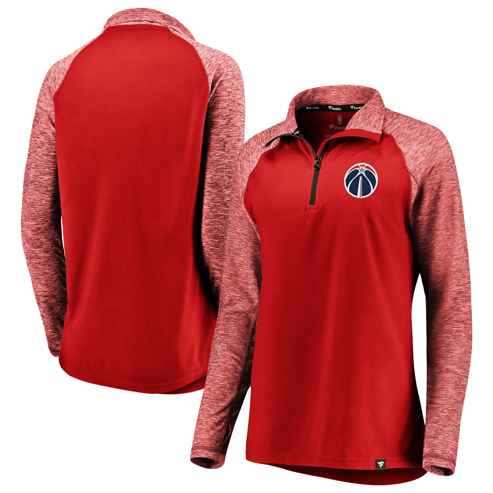 Washington Wizards Fanatics Branded Women's Made to Move Static Performance Raglan Sleeve Quarter-Zip Pullover Jacket - Red/Heathered Red