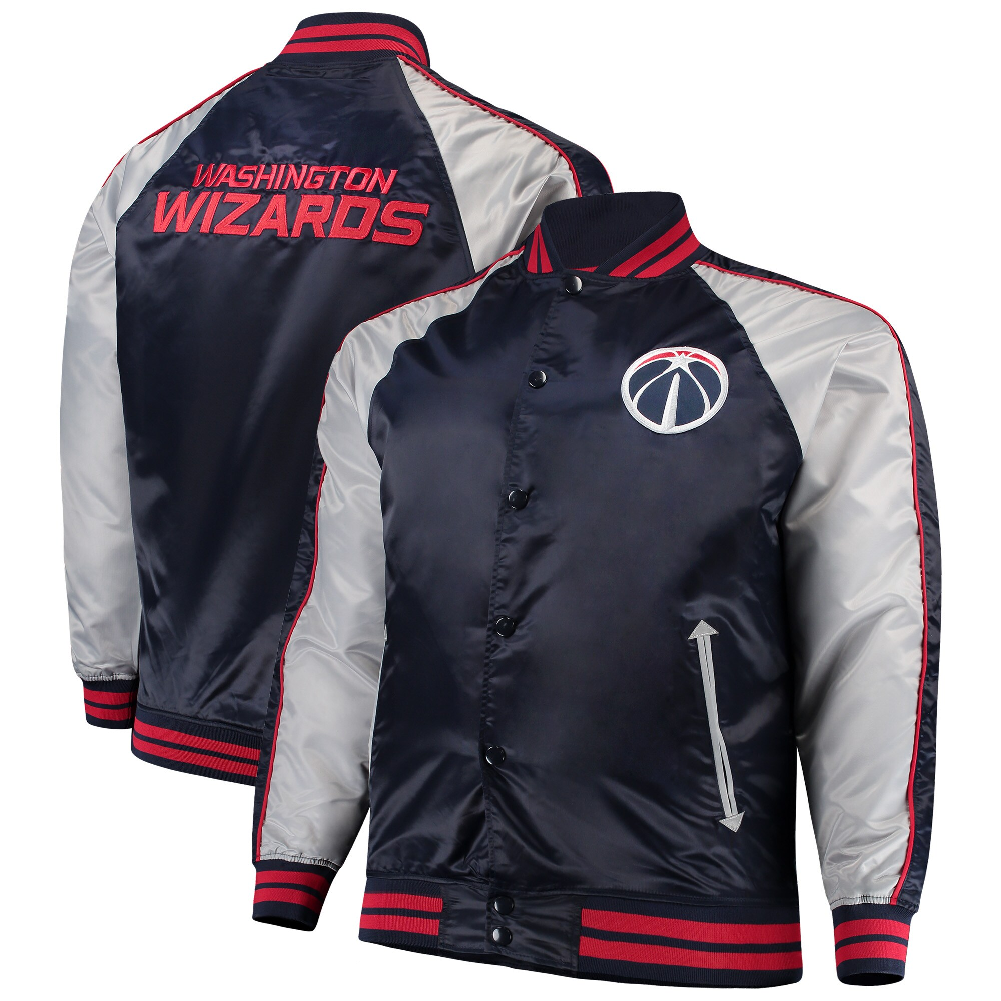 Washington Wizards Majestic Big & Tall Lightweight Satin Full-Snap Jacket - Navy