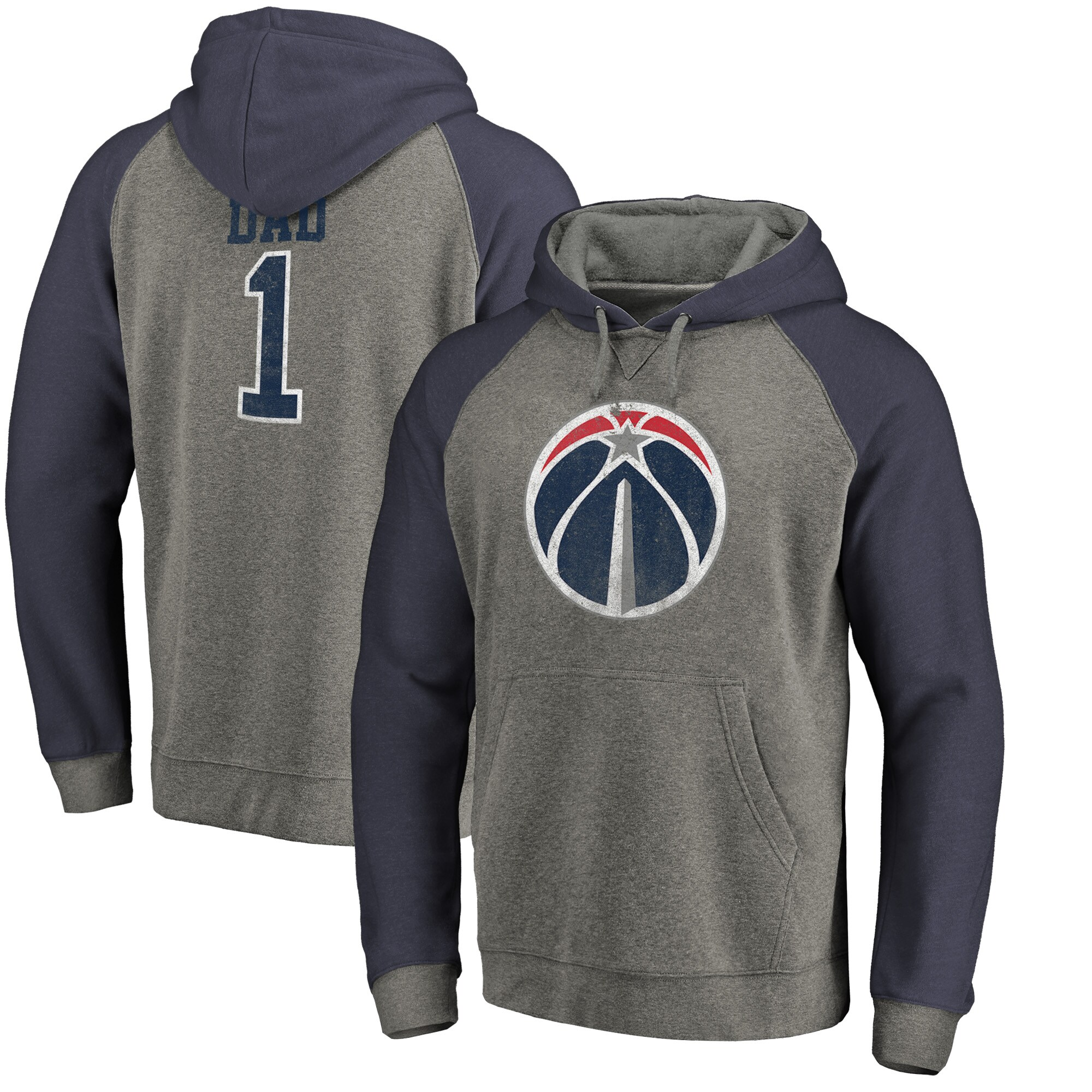 Washington Wizards Fanatics Branded Greatest Dad Long Sleeve Tri-Blend Raglan Hoodie - Heathered Gray