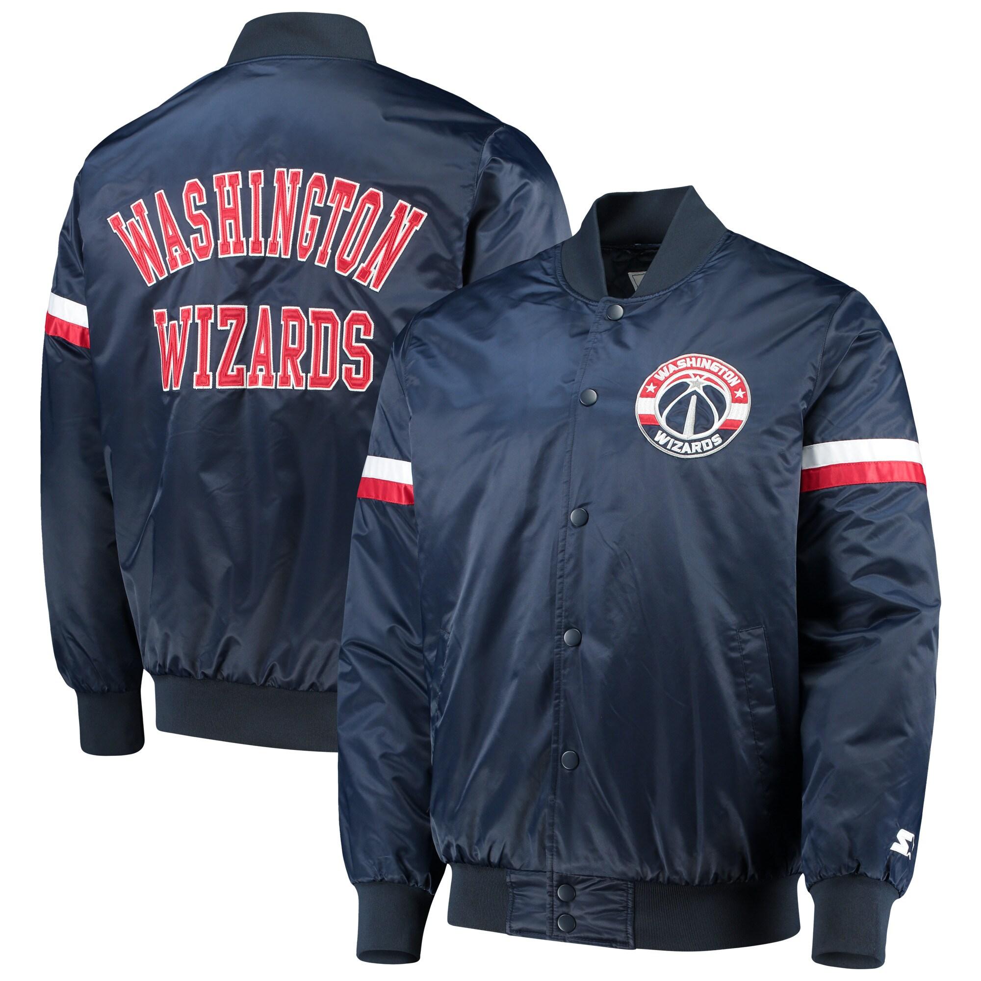 Washington Wizards Starter The Champ Varsity Satin Jacket - Navy